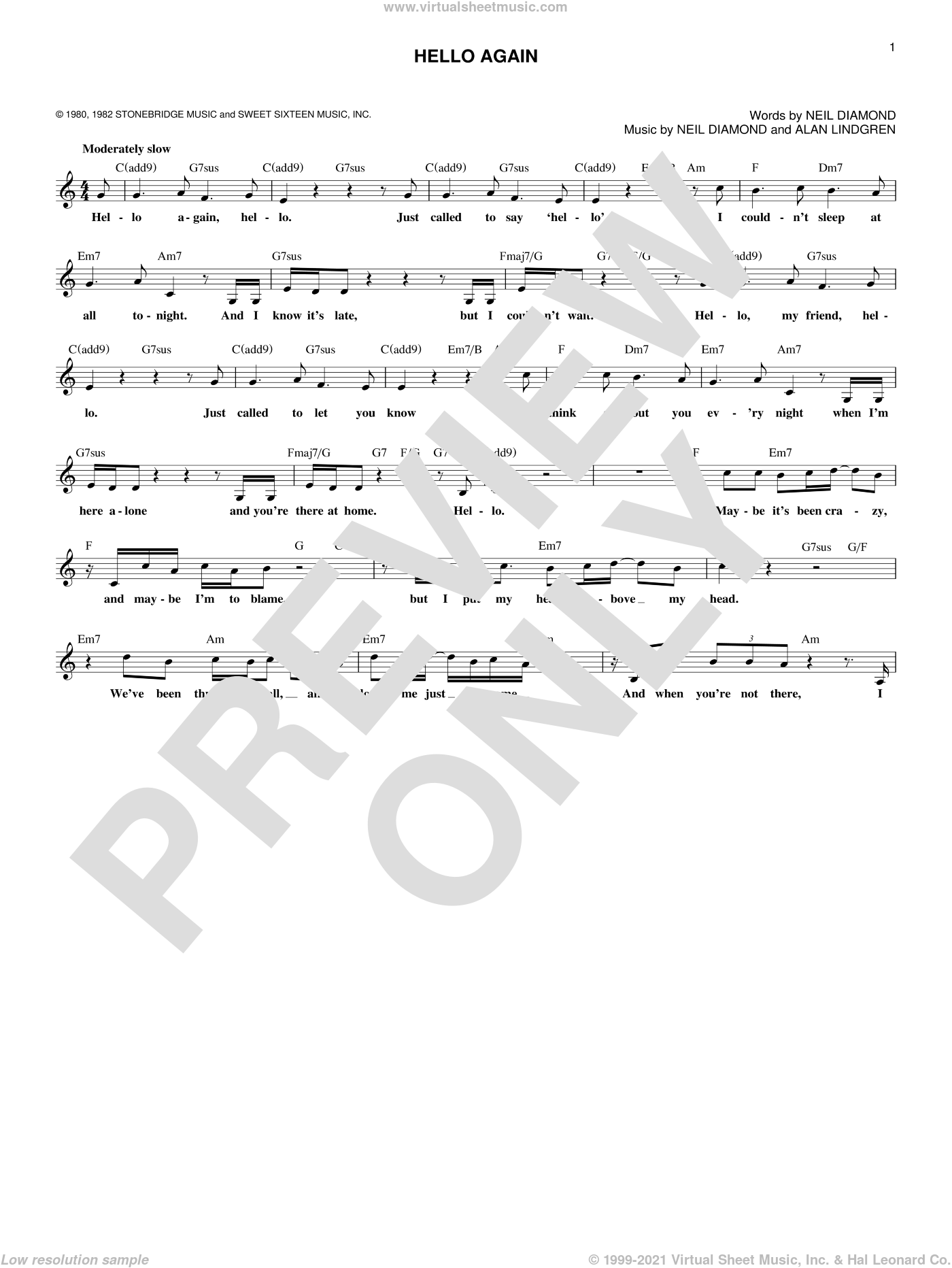 Hello Again sheet music for voice and other instruments (fake book) by Neil Diamond. Score Image Preview.