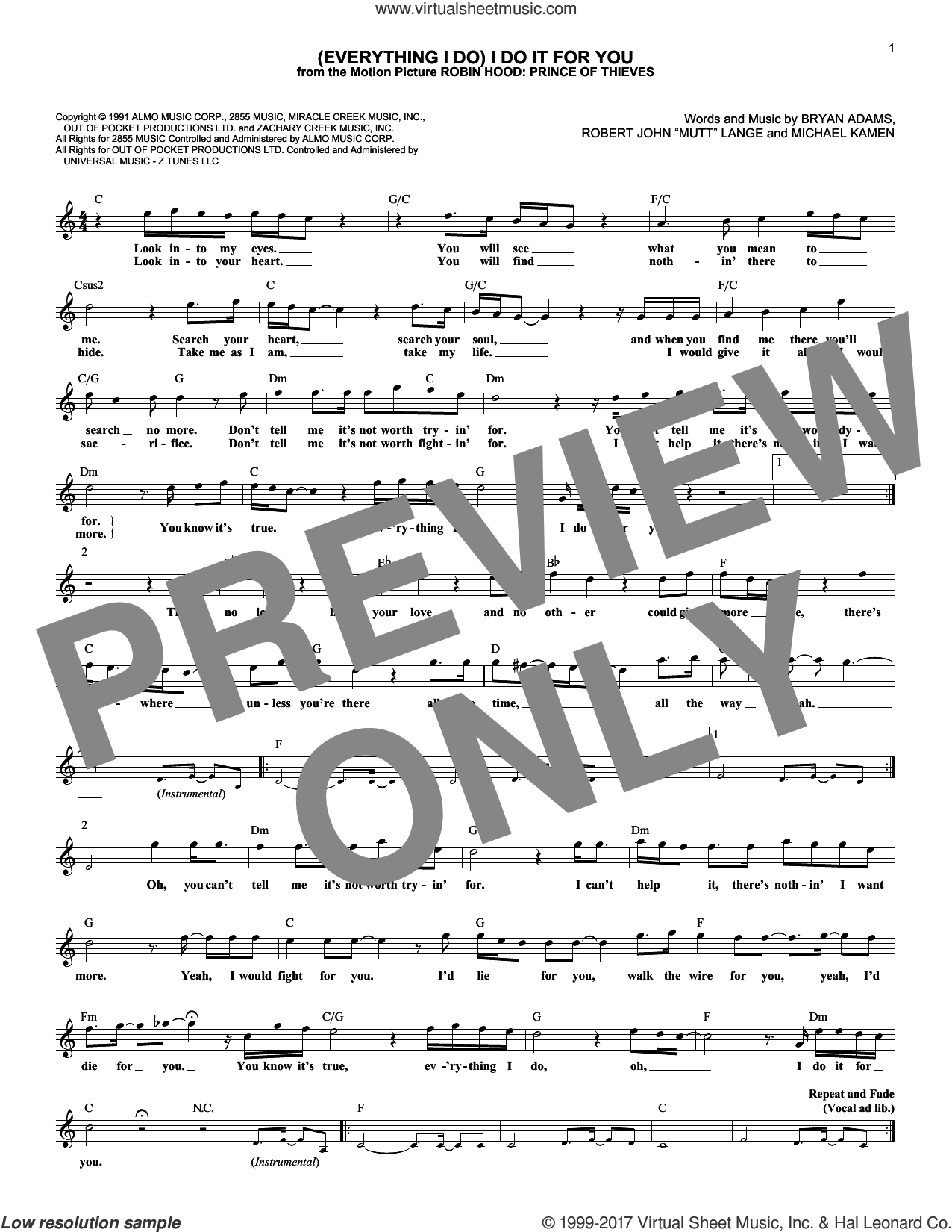 (Everything I Do) I Do It For You sheet music for voice and other instruments (fake book) by Bryan Adams, Michael Kamen and Robert John Lange, intermediate skill level