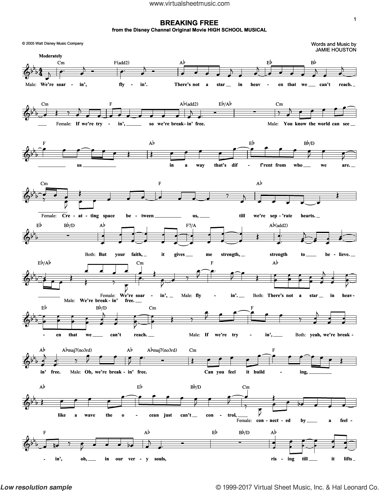 Breaking Free sheet music for voice and other instruments (fake book) by Zac Efron & Vanessa Anne Hudgens and Jamie Houston. Score Image Preview.