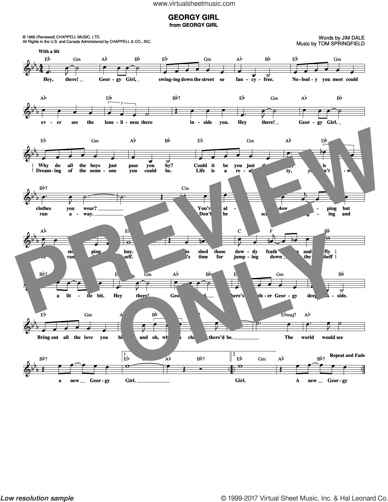 Georgy Girl sheet music for voice and other instruments (fake book) by The Seekers and Tom Springfield. Score Image Preview.