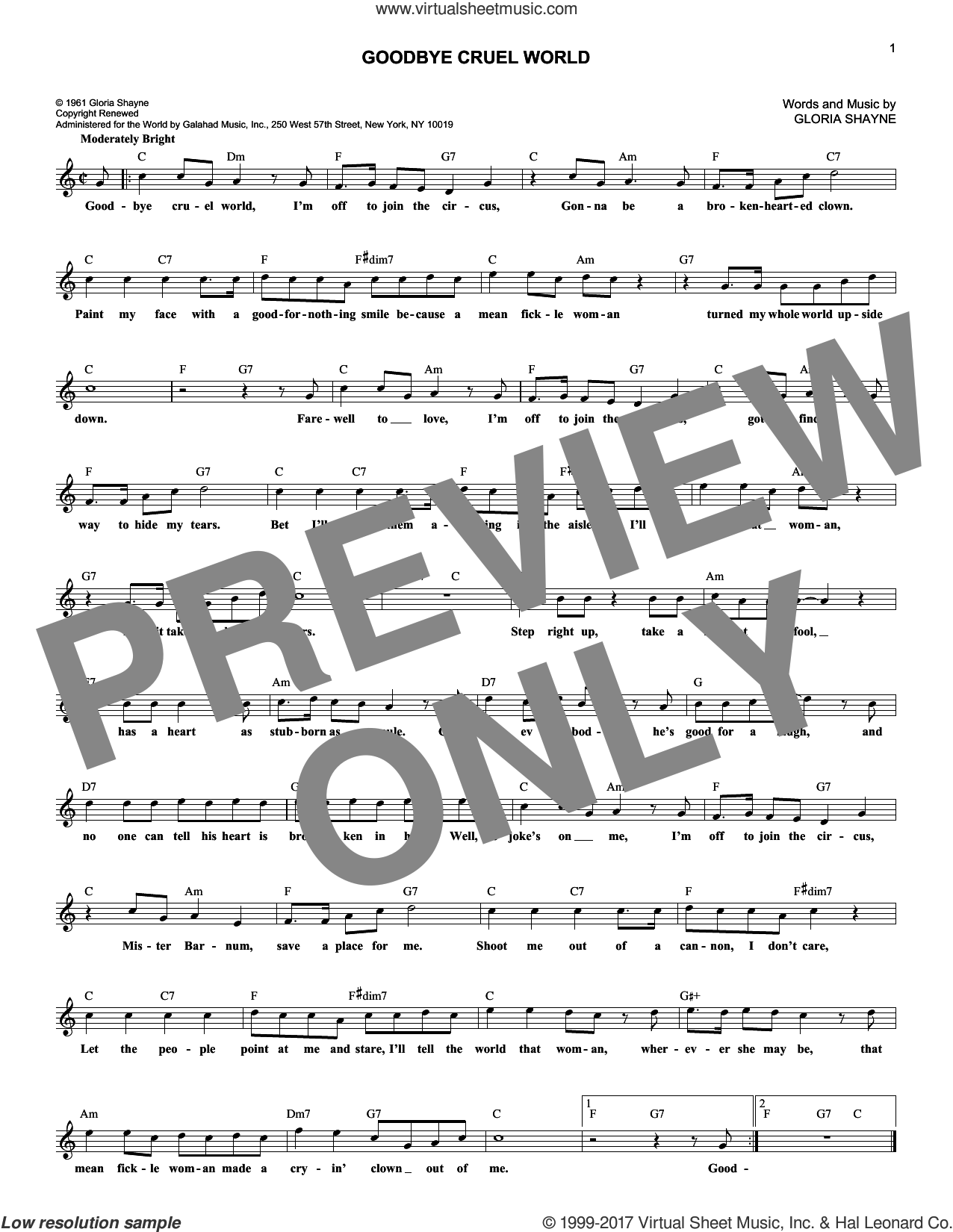 Goodbye Cruel World sheet music for voice and other instruments (fake book) by James Darren and Gloria Shayne, intermediate skill level