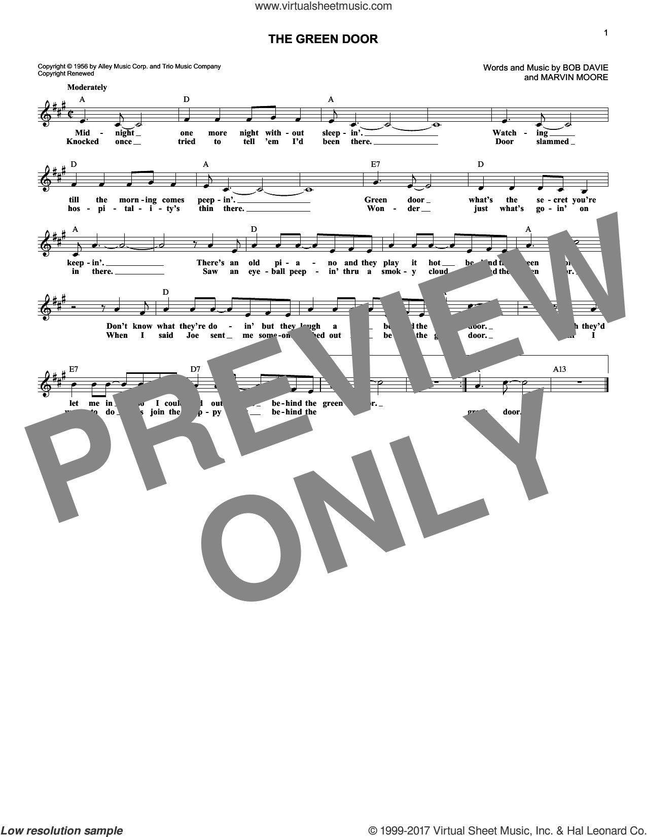 The Green Door sheet music for voice and other instruments (fake book) by Marvin Moore and Jim Lowe. Score Image Preview.