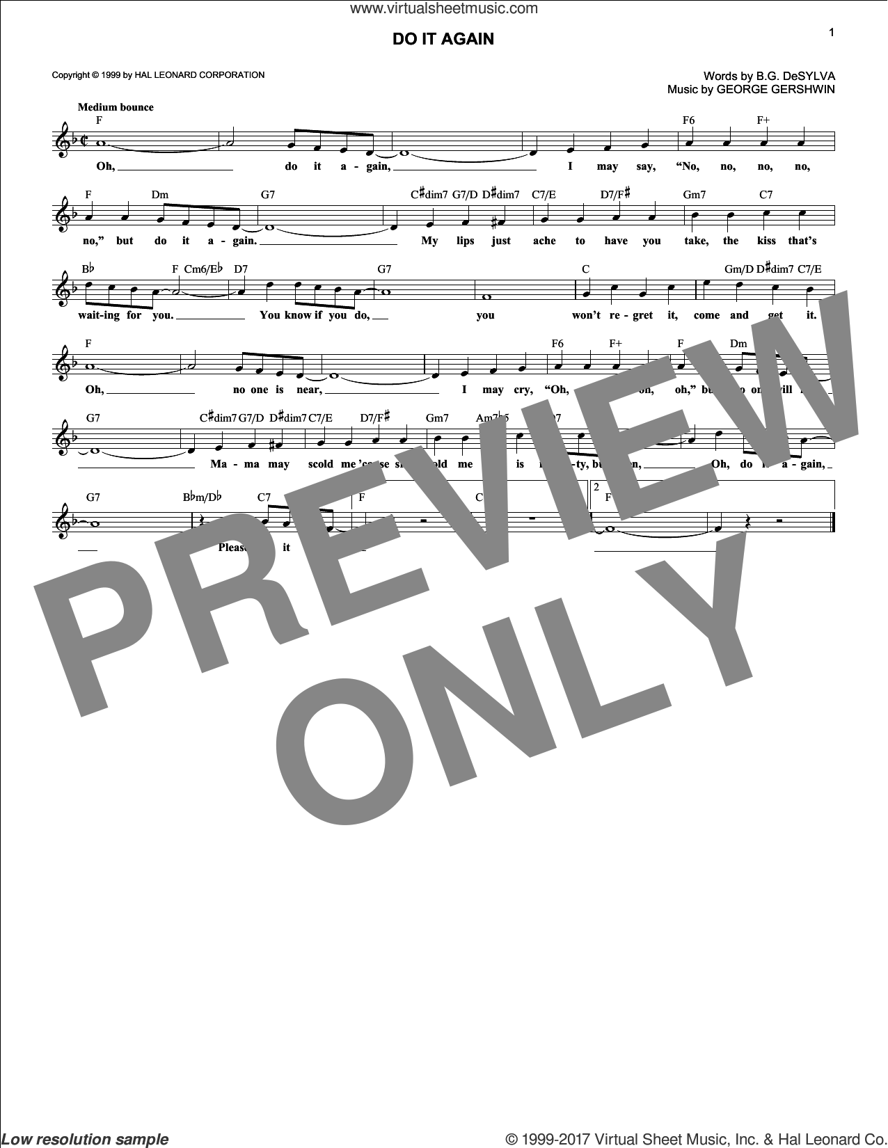 Do It Again sheet music for voice and other instruments (fake book) by George Gershwin and Buddy DeSylva. Score Image Preview.