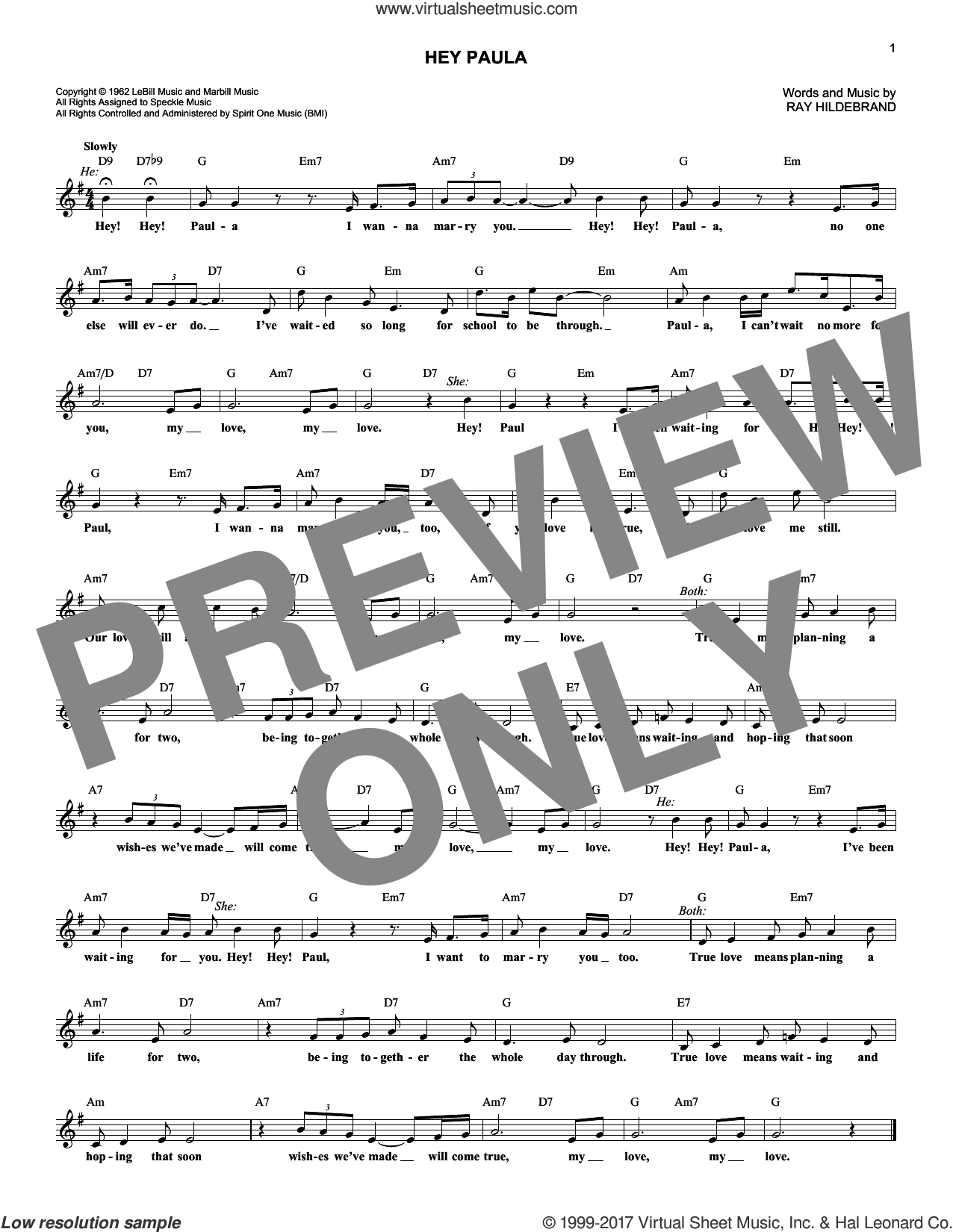 Hey Paula sheet music for voice and other instruments (fake book) by Paul & Paula and Ray Hildebrand, intermediate skill level