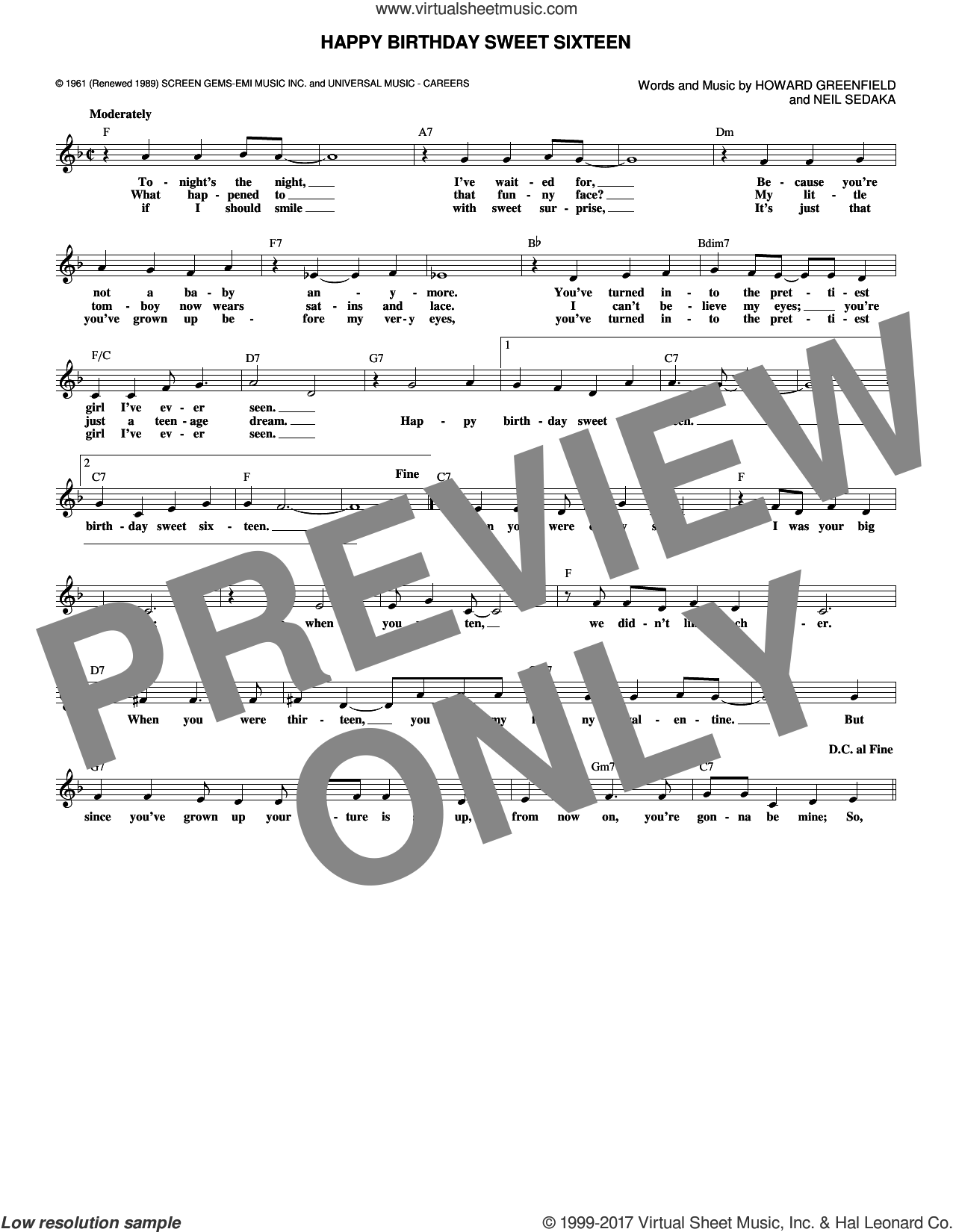 Happy Birthday Sweet Sixteen sheet music for voice and other instruments (fake book) by Howard Greenfield and Neil Sedaka. Score Image Preview.