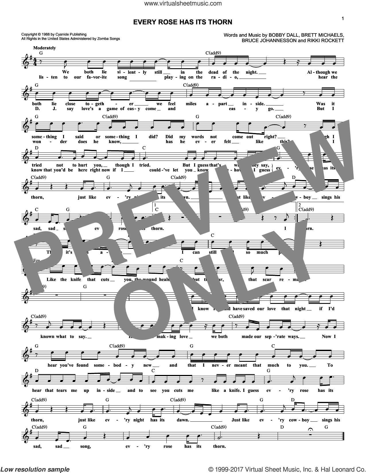 Every Rose Has Its Thorn sheet music for voice and other instruments (fake book) by Poison, Bobby Dall, Bret Michaels, C.C. Deville and Rikki Rockett, intermediate skill level