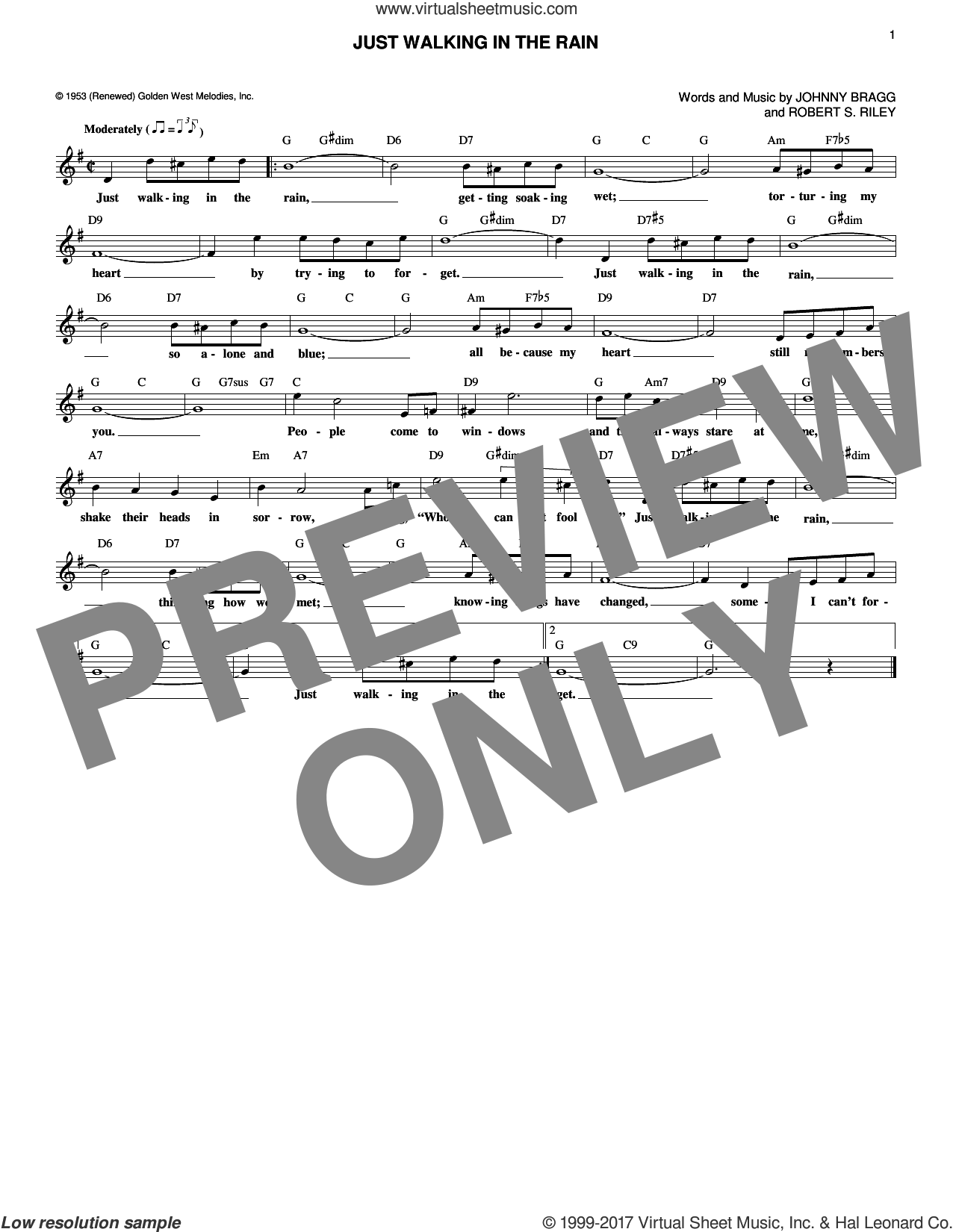 Just Walking In The Rain sheet music for voice and other instruments (fake book) by Johnny Bragg. Score Image Preview.