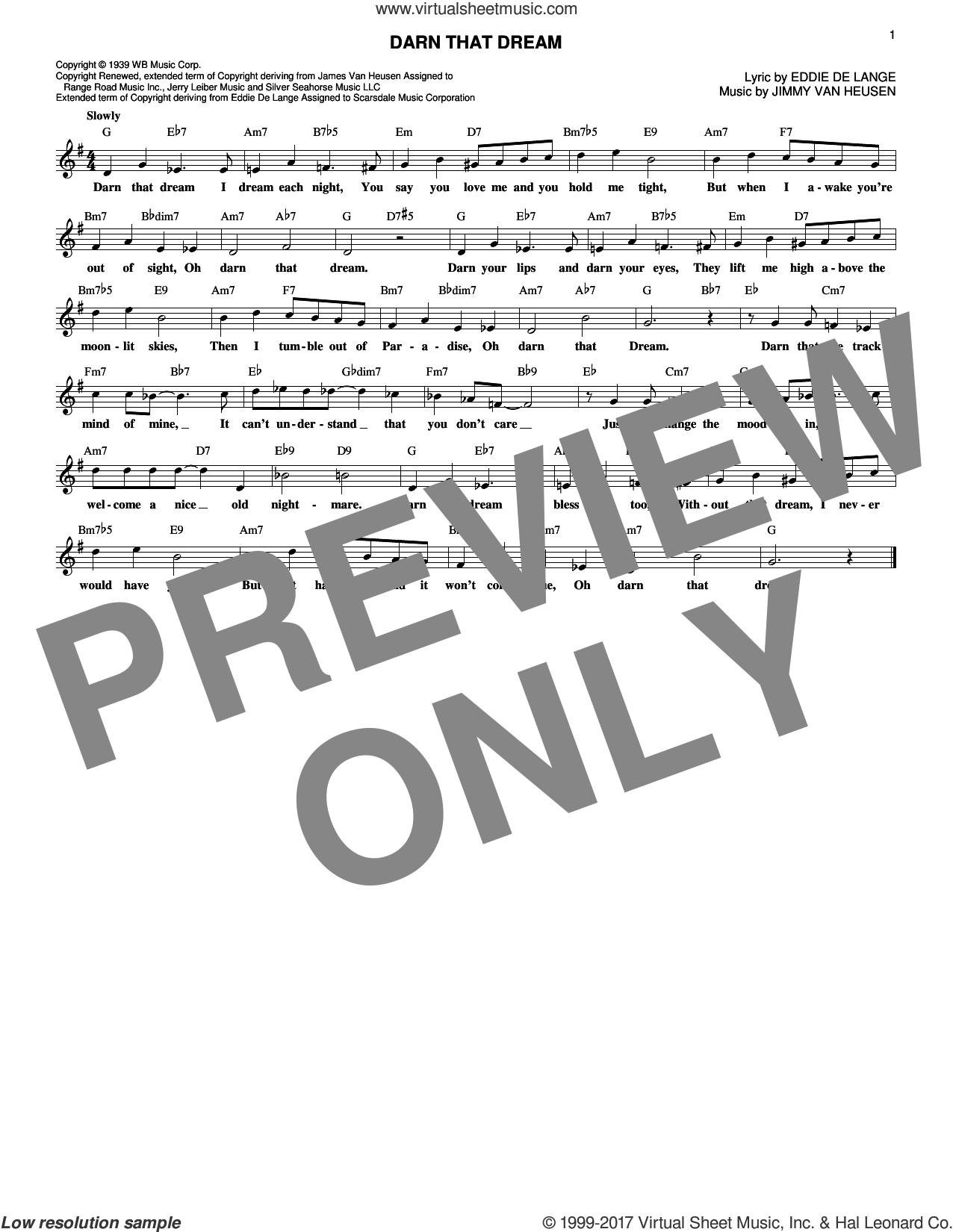 Darn That Dream sheet music for voice and other instruments (fake book) by Miles Davis, Benny Goodman, Tommy Dorsey, Eddie DeLange and Jimmy Van Heusen, intermediate. Score Image Preview.