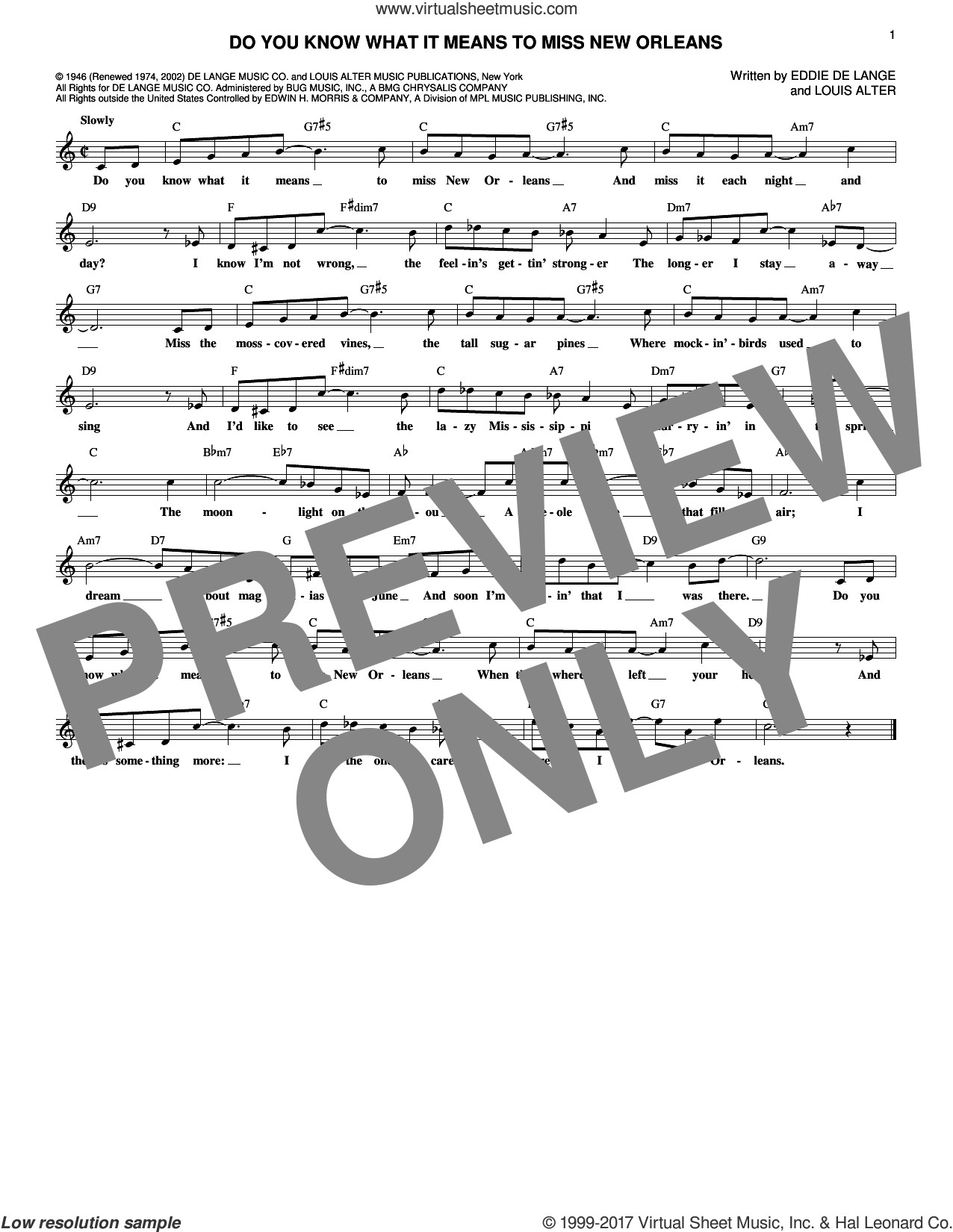 Do You Know What It Means To Miss New Orleans sheet music for voice and other instruments (fake book) by Eddie DeLange and Louis Alter. Score Image Preview.