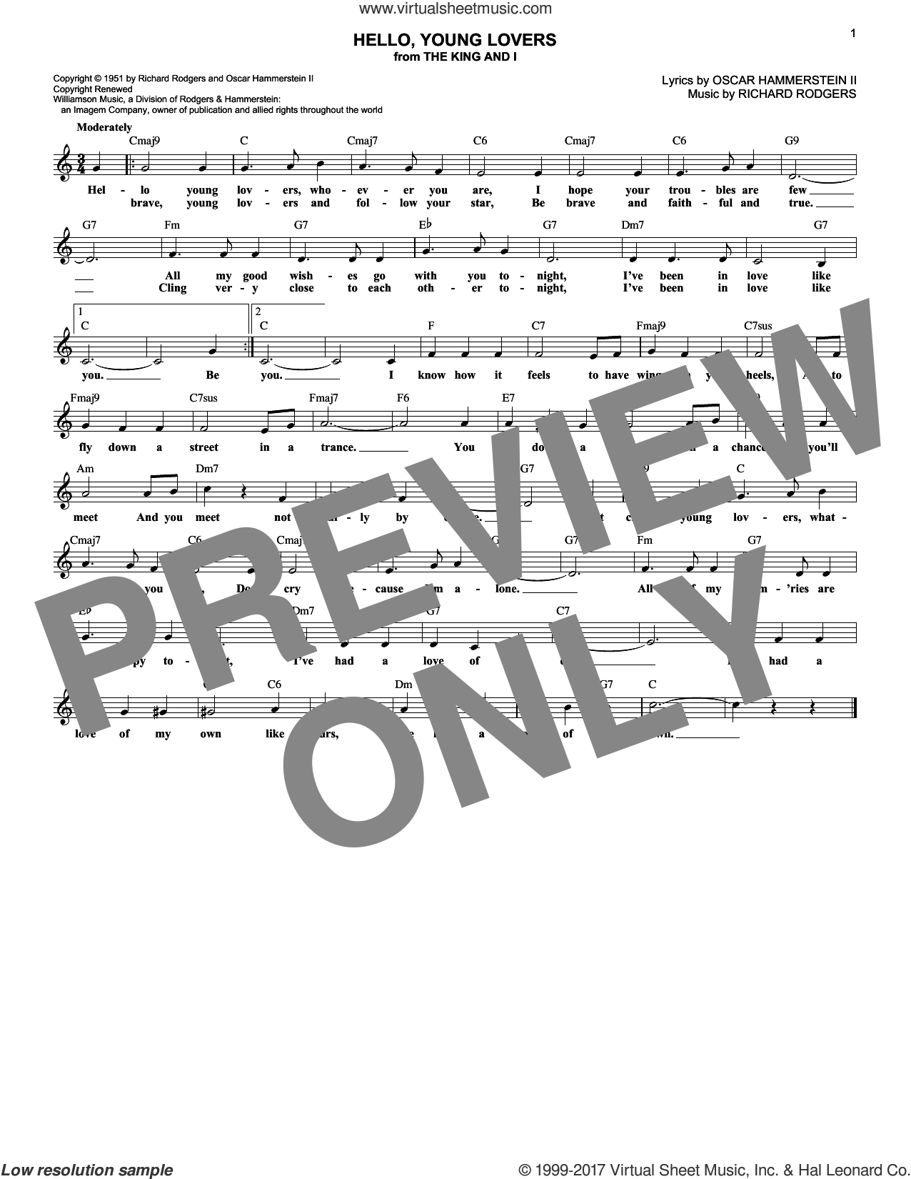 Hello, Young Lovers sheet music for voice and other instruments (fake book) by Rodgers & Hammerstein, Stevie Wonder, Oscar II Hammerstein and Richard Rodgers, intermediate voice. Score Image Preview.