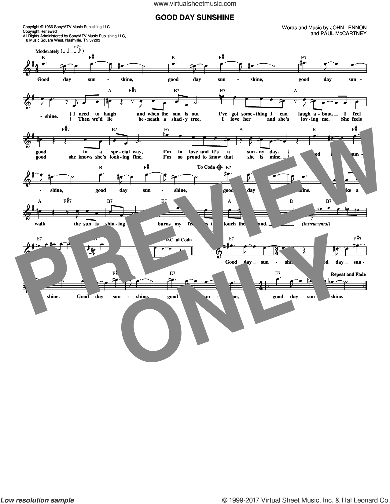 Good Day Sunshine sheet music for voice and other instruments (fake book) by The Beatles, John Lennon and Paul McCartney, intermediate. Score Image Preview.