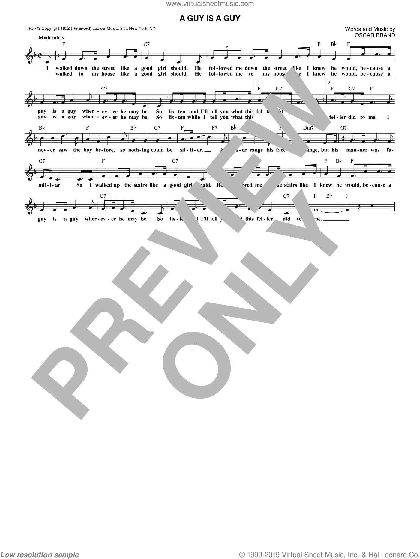 A Guy Is A Guy sheet music for voice and other instruments (fake book) by Oscar Brand, intermediate voice. Score Image Preview.