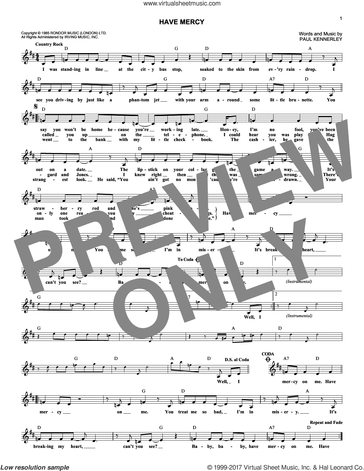 Have Mercy sheet music for voice and other instruments (fake book) by The Judds and Paul Kennerley. Score Image Preview.