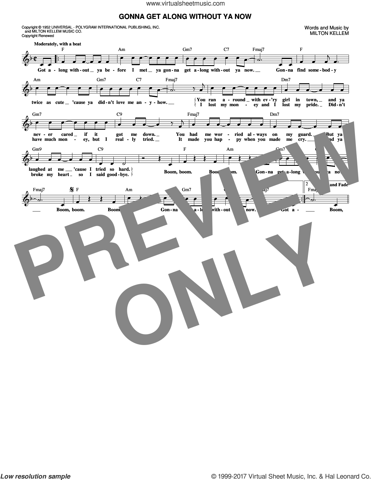 Gonna Get Along Without Ya Now sheet music for voice and other instruments (fake book) by Skeeter Davis and Milton Kellem, intermediate. Score Image Preview.