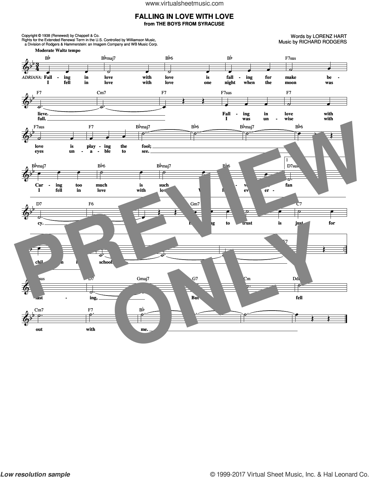 Falling In Love With Love sheet music for voice and other instruments (fake book) by Rodgers & Hart, Lorenz Hart and Richard Rodgers, intermediate skill level
