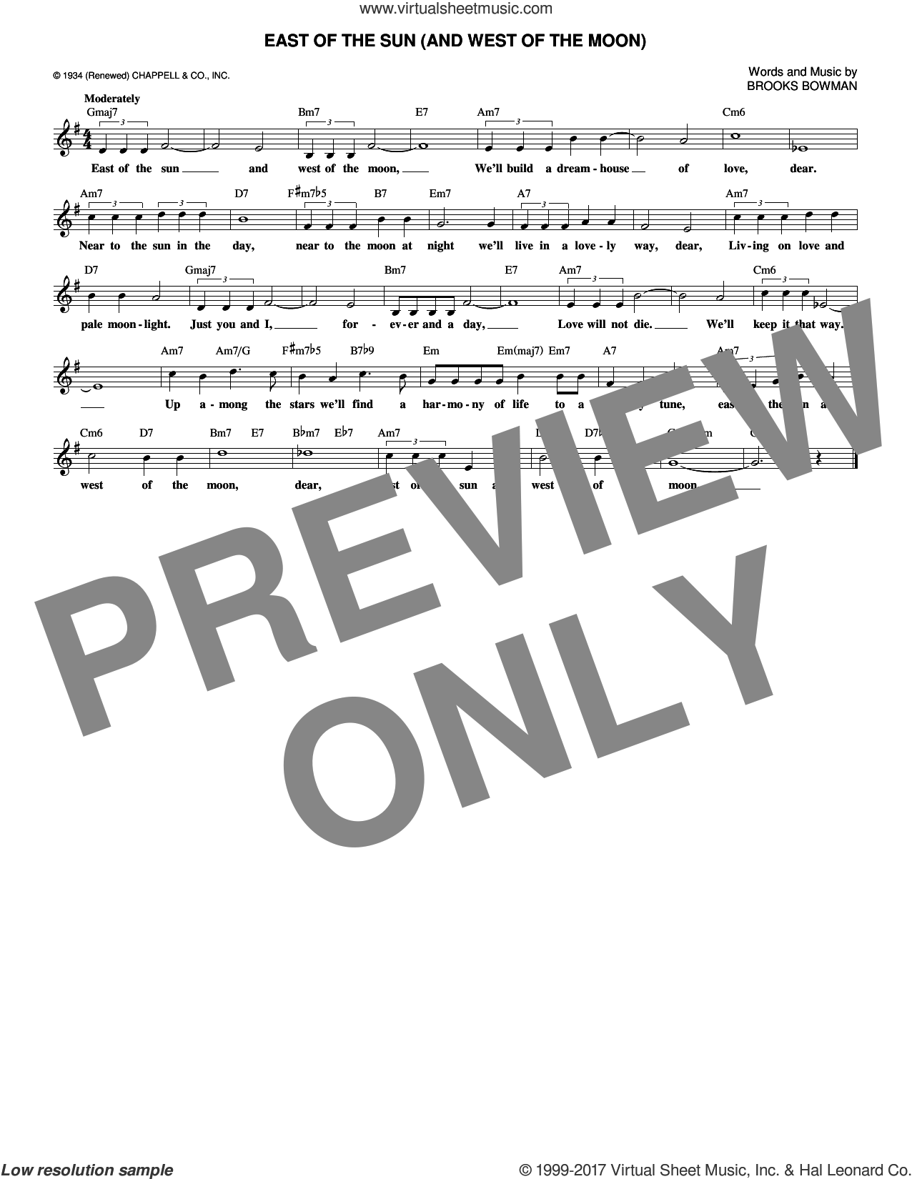 East Of The Sun (And West Of The Moon) sheet music for voice and other instruments (fake book) by Brooks Bowman, intermediate. Score Image Preview.