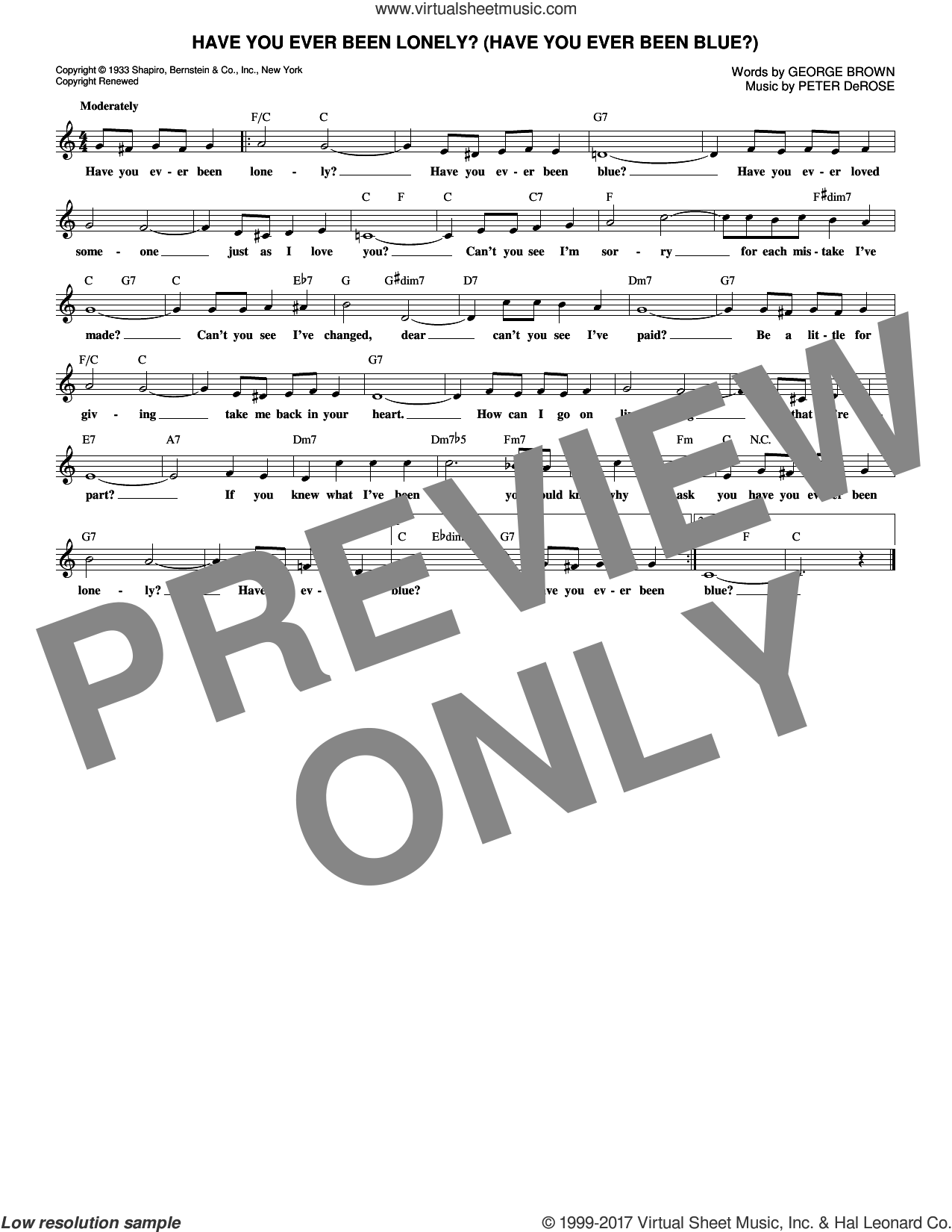Have You Ever Been Lonely? (Have You Ever Been Blue?) sheet music for voice and other instruments (fake book) by Peter DeRose and George Brown. Score Image Preview.