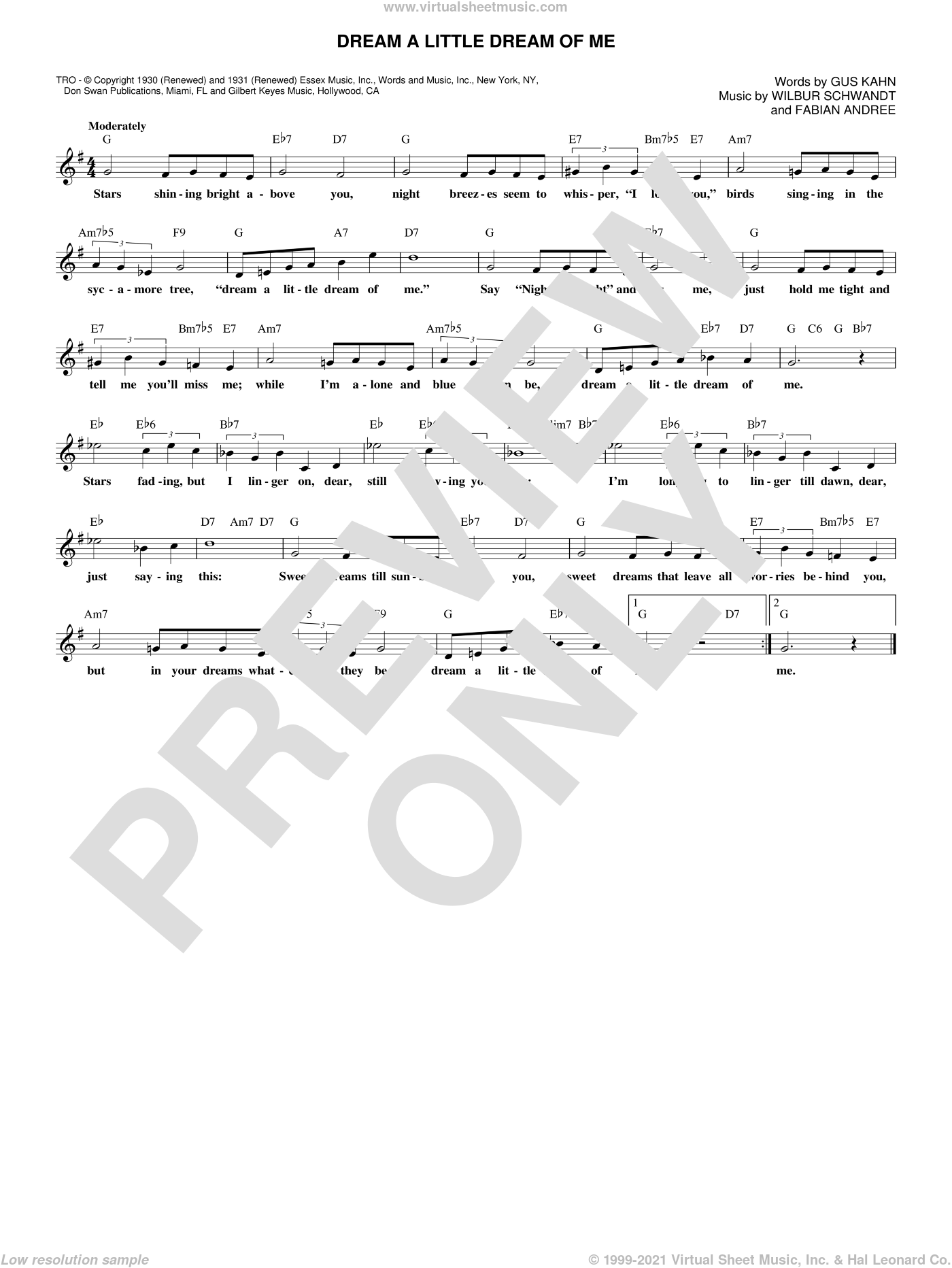 Dream A Little Dream Of Me sheet music for voice and other instruments (fake book) by The Mamas & The Papas, Fabian Andree, Gus Kahn and Wilbur Schwandt, intermediate