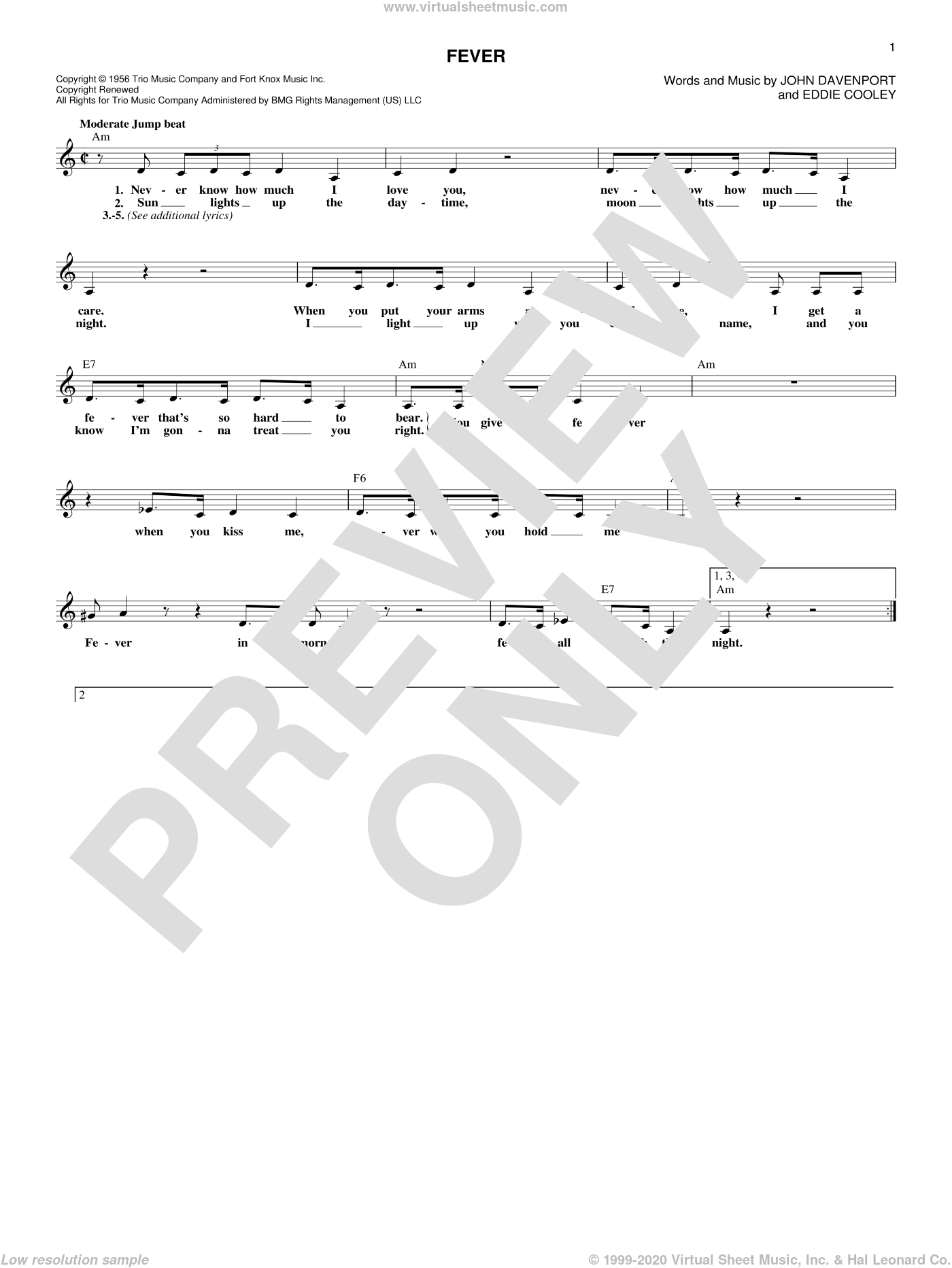 Fever sheet music for voice and other instruments (fake book) by Peggy Lee, Eddie Cooley and John Davenport, intermediate skill level