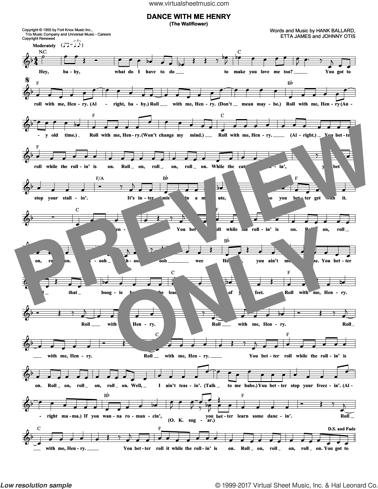 Dance With Me Henry (The Wallflower) sheet music for voice and other instruments (fake book) by Etta James, Georgia Gibbs and Johnny Otis. Score Image Preview.