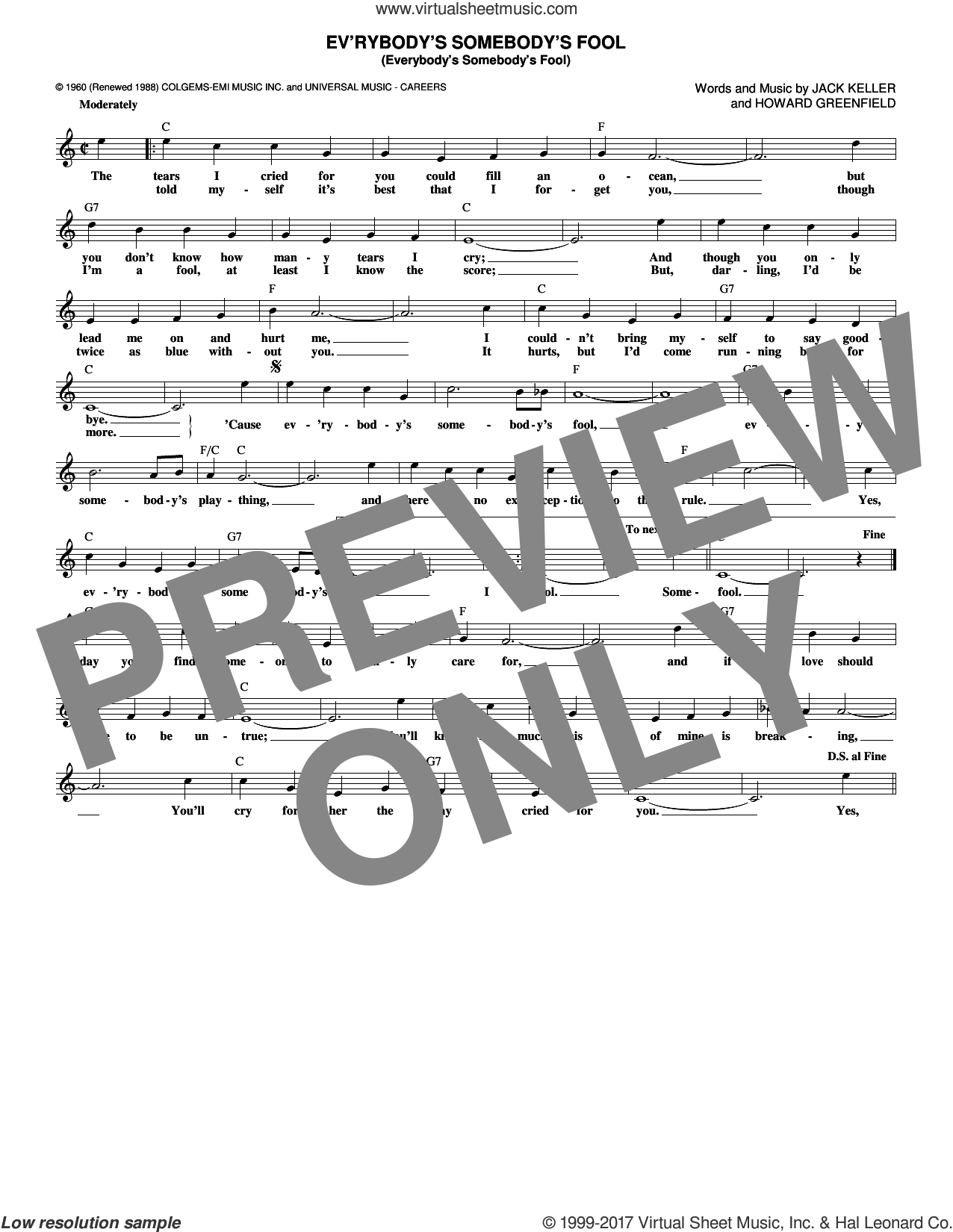 Ev'rybody's Somebody's Fool (Everybody's Somebody's Fool) sheet music for voice and other instruments (fake book) by Connie Francis, Howard Greenfield and Jack Keller, intermediate skill level