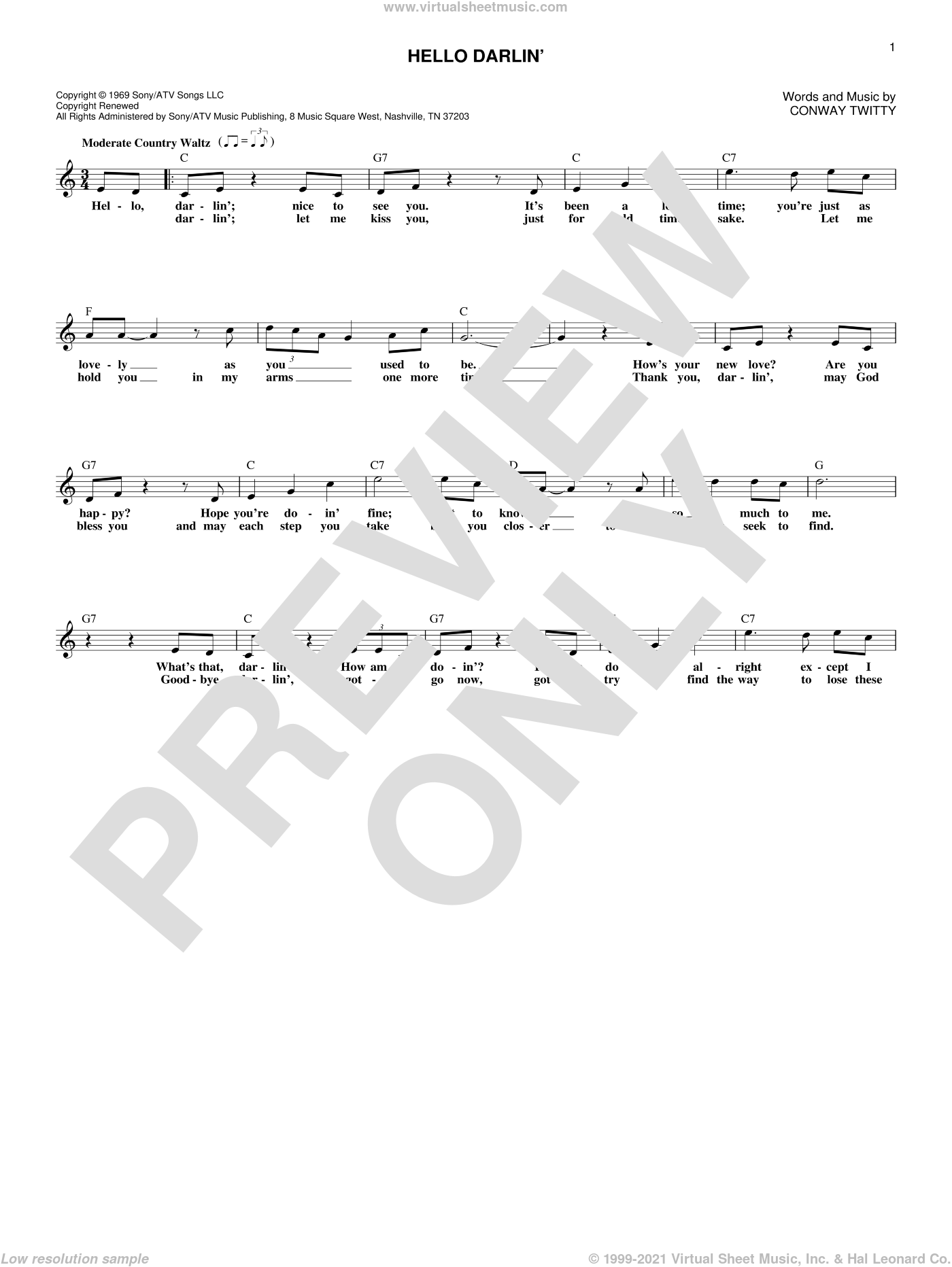 Hello Darlin' sheet music for voice and other instruments (fake book) by Conway Twitty. Score Image Preview.