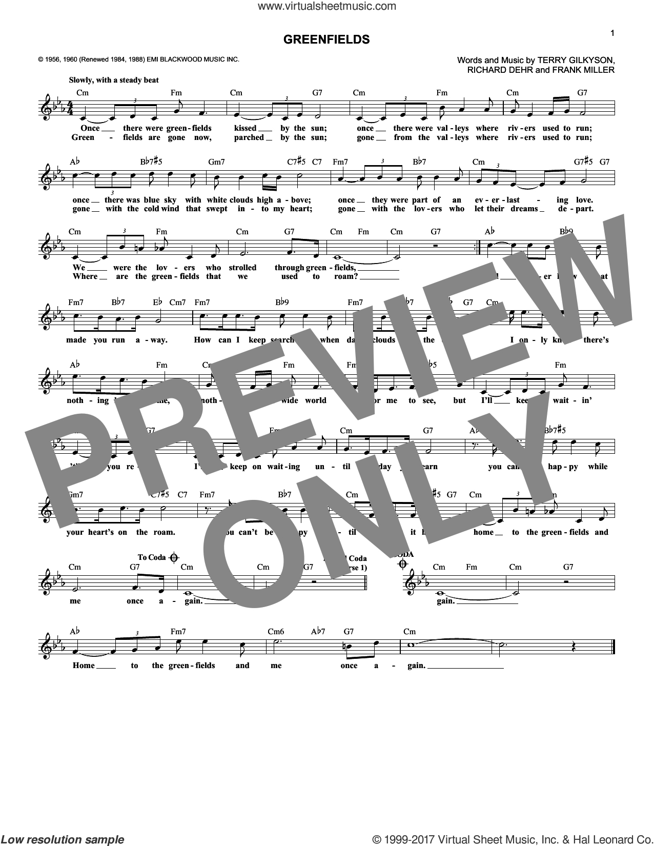 Greenfields sheet music for voice and other instruments (fake book) by The Brothers Four, Frank Miller, Richard Dehr and Terry Gilkyson, intermediate skill level