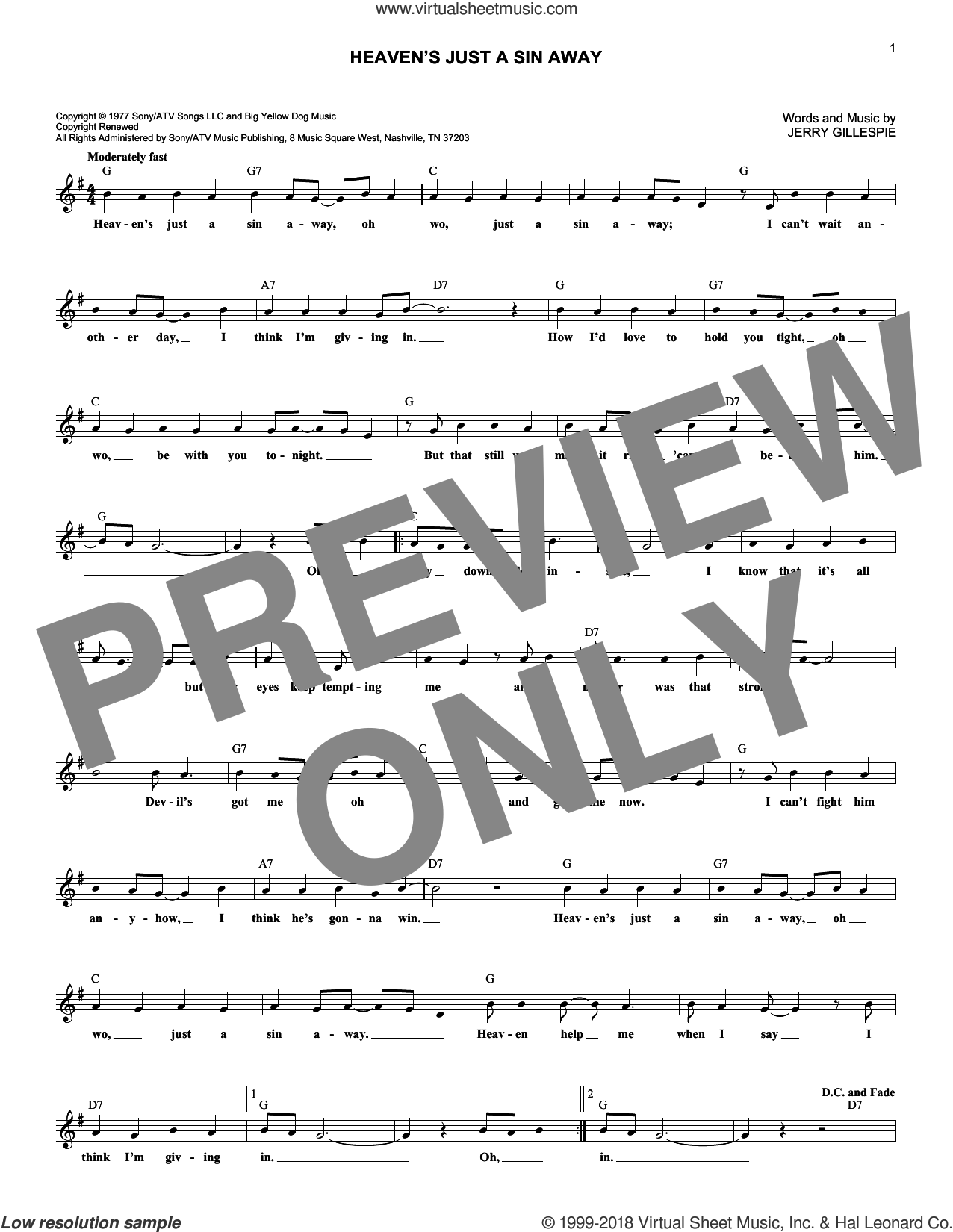 Heaven's Just A Sin Away sheet music for voice and other instruments (fake book) by The Kendalls and Jerry Gillespie, intermediate skill level