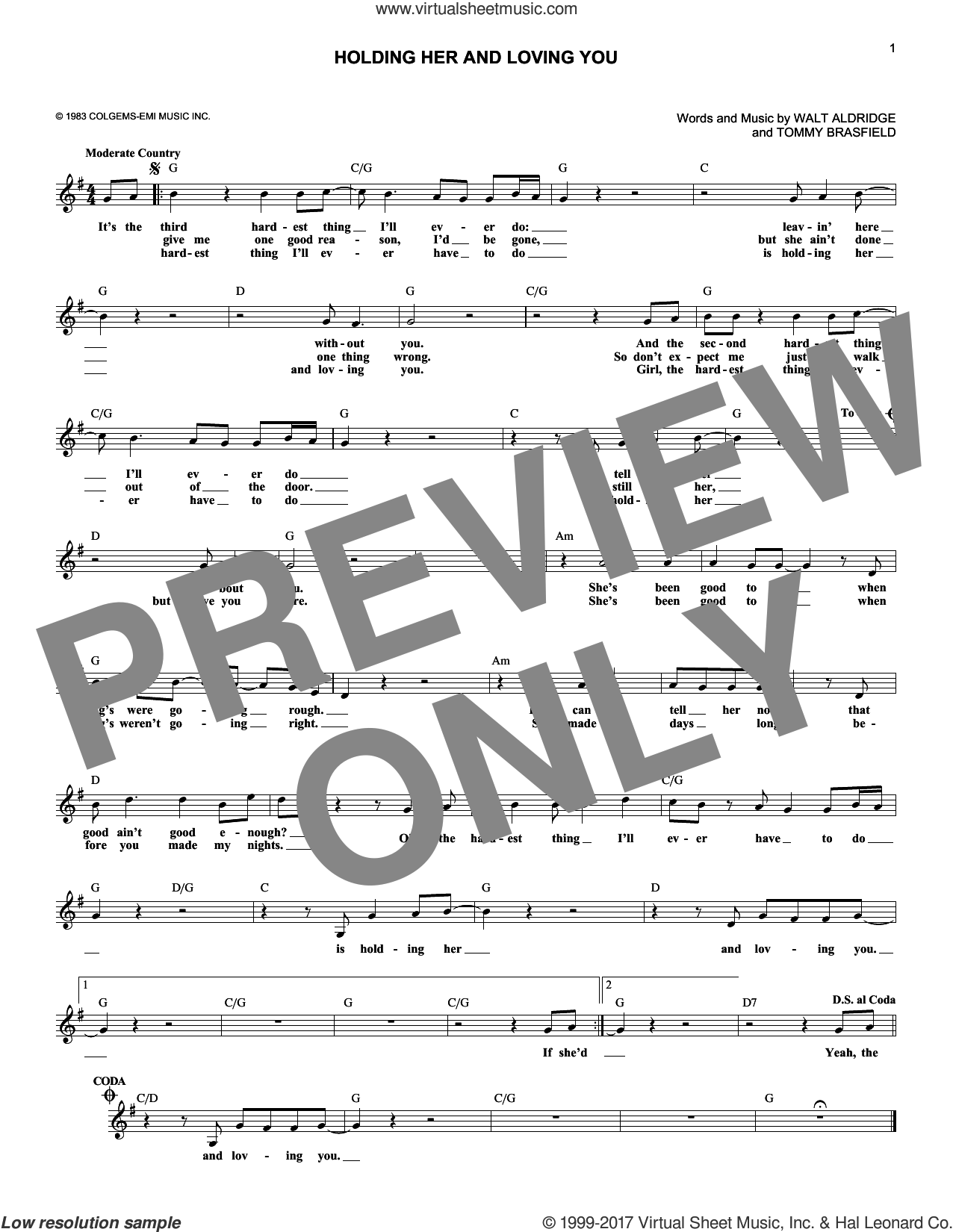 Holding Her And Loving You sheet music for voice and other instruments (fake book) by Earl Thomas Conley, Tommy Brasfield and Walt Aldridge, intermediate skill level