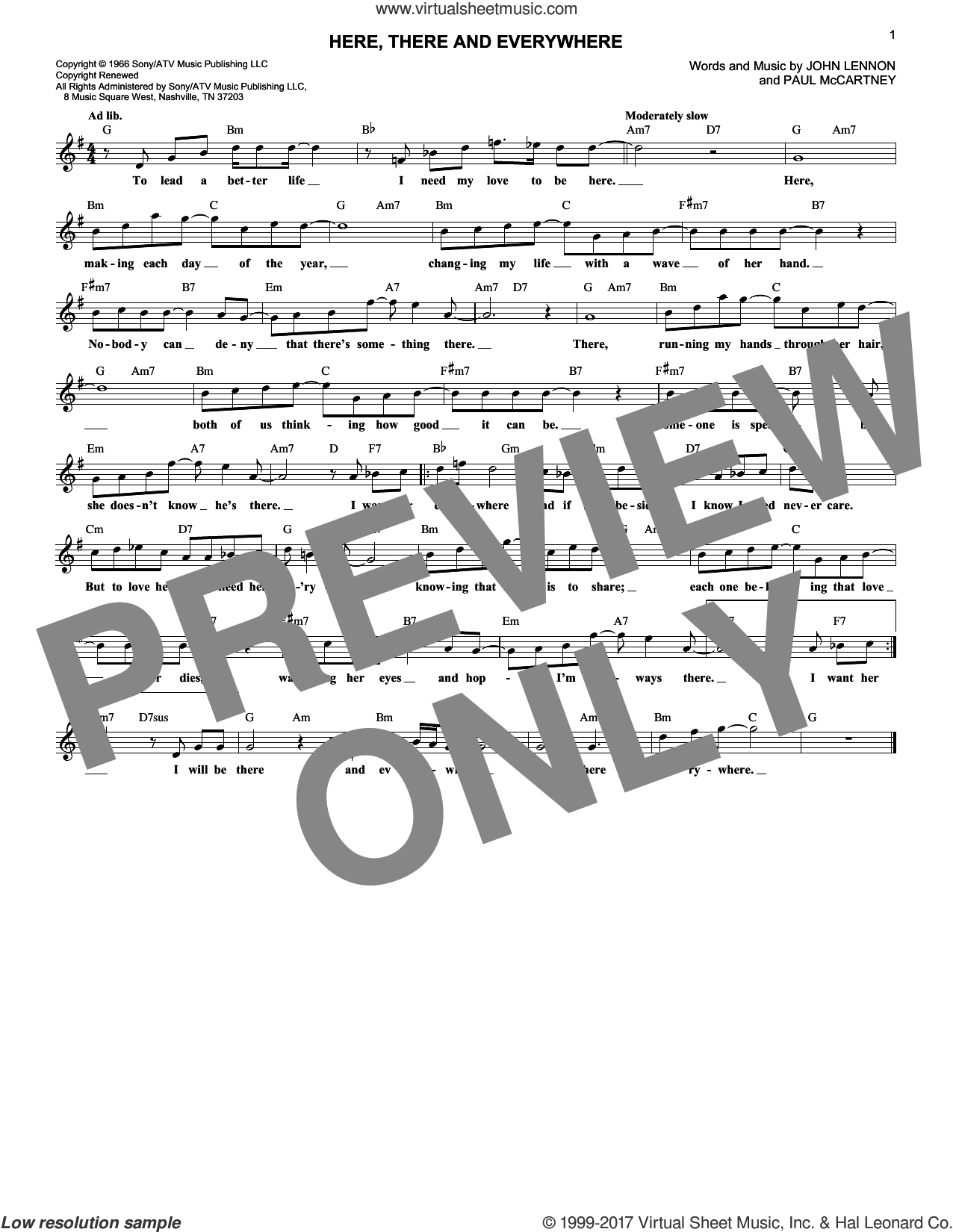Here, There And Everywhere sheet music for voice and other instruments (fake book) by The Beatles, George Benson, Robert Laughlin, John Lennon and Paul McCartney, intermediate skill level