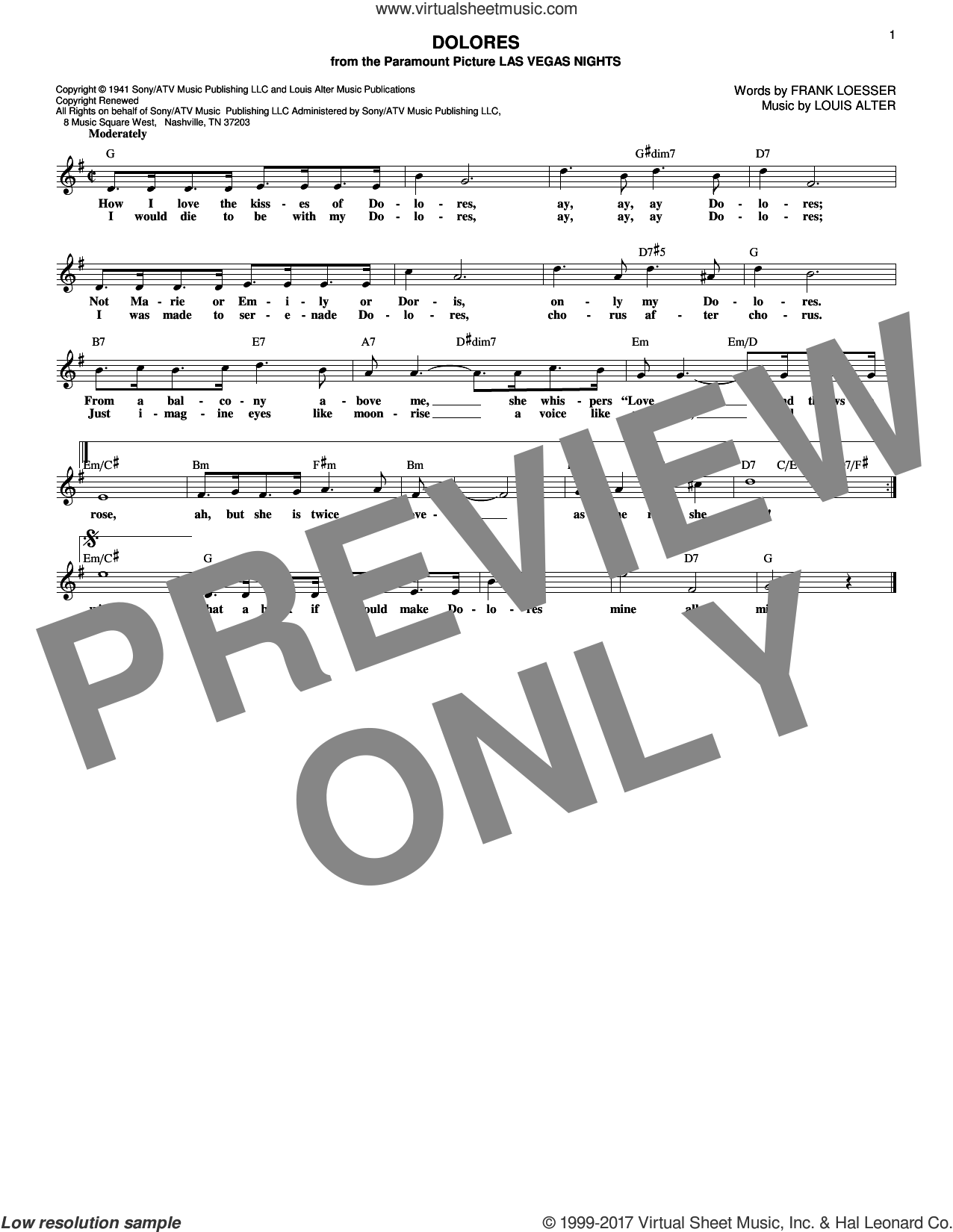 Dolores sheet music for voice and other instruments (fake book) by Frank Loesser and Louis Alter, intermediate skill level