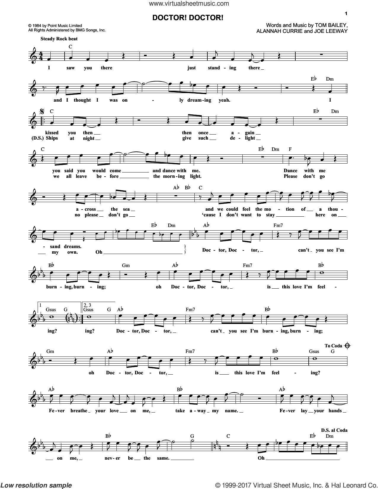 Doctor! Doctor! sheet music for voice and other instruments (fake book) by Thompson Twins and Alannah Currie, intermediate. Score Image Preview.