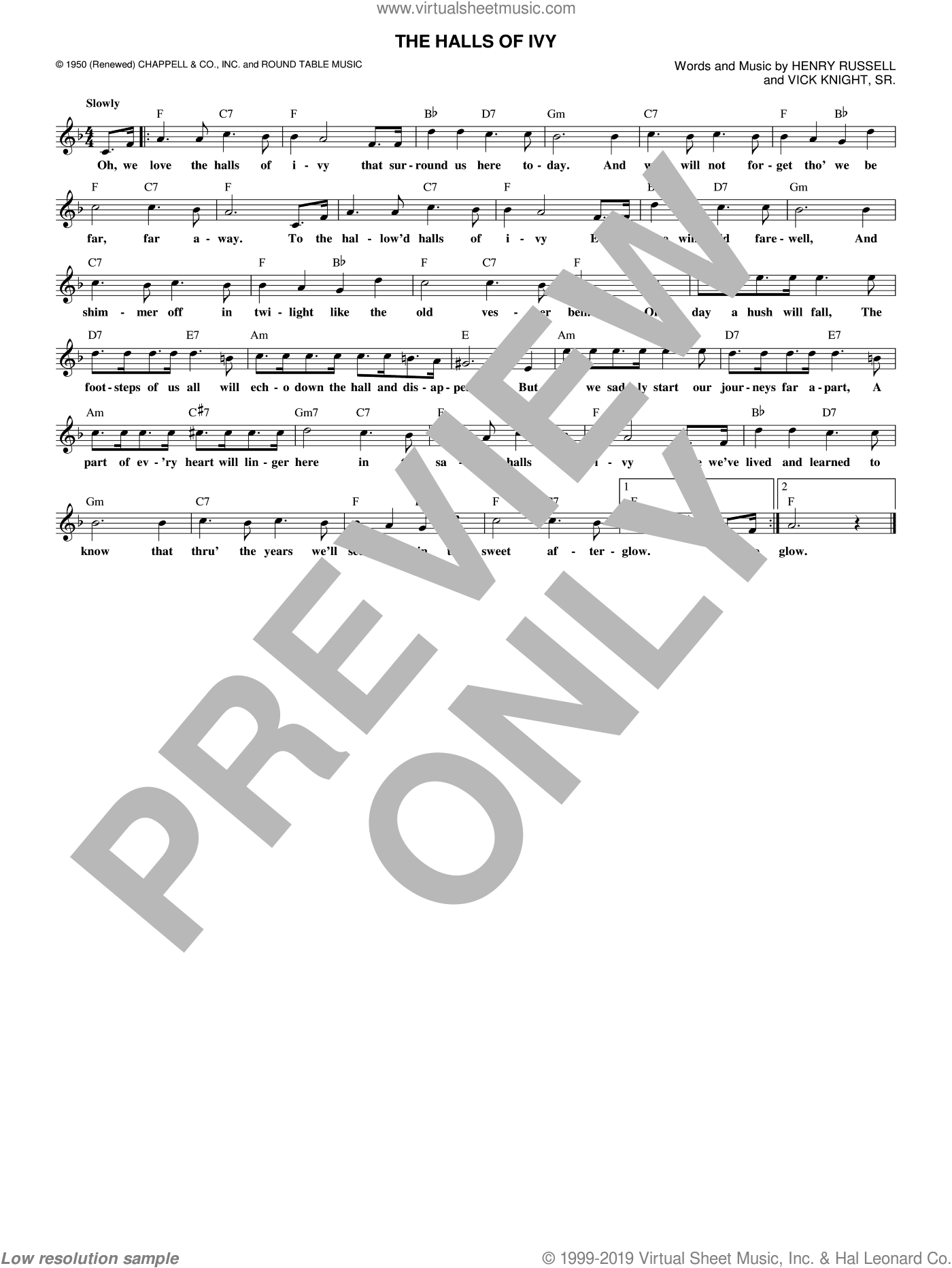 The Halls Of Ivy sheet music for voice and other instruments (fake book) by Henry Russell and Vick Knight, Sr., intermediate skill level