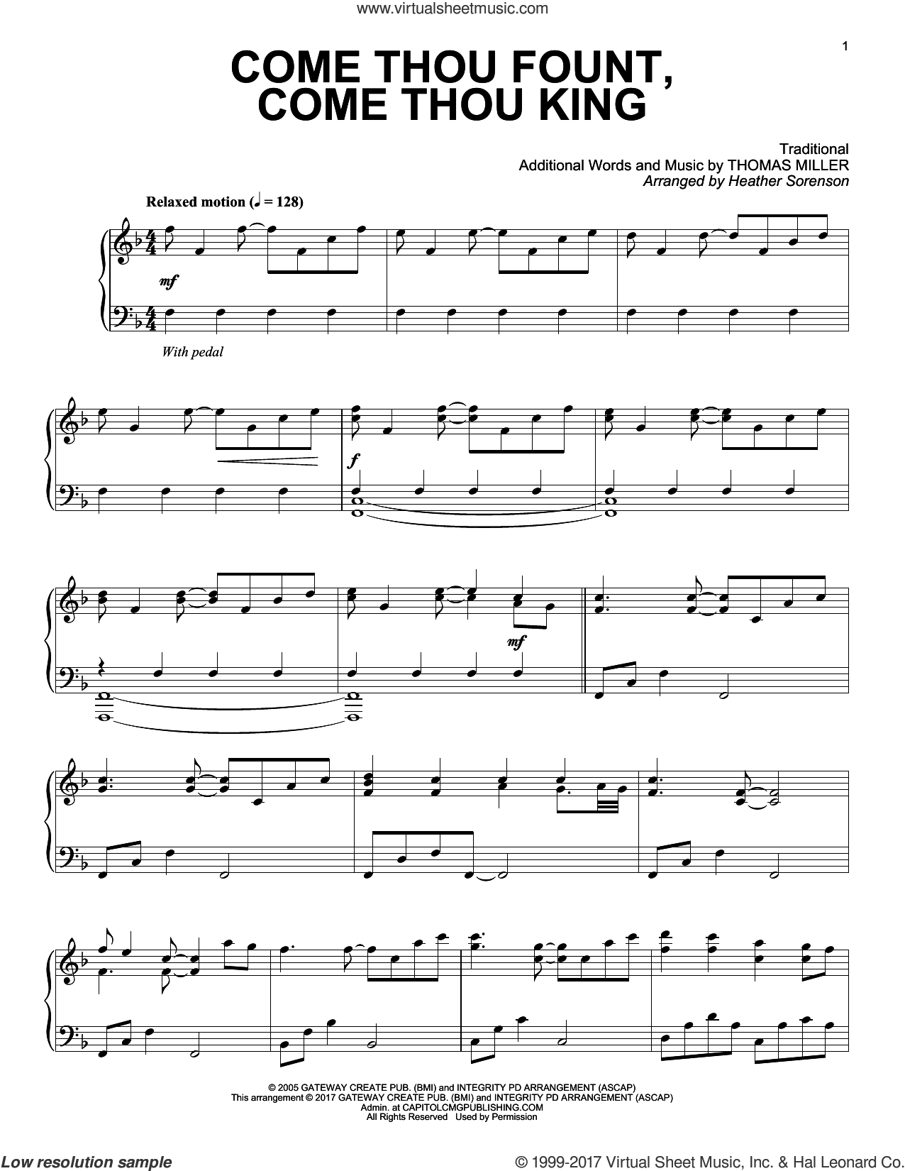 Come Thou Fount, Come Thou King sheet music for piano solo  and Thomas Miller. Score Image Preview.