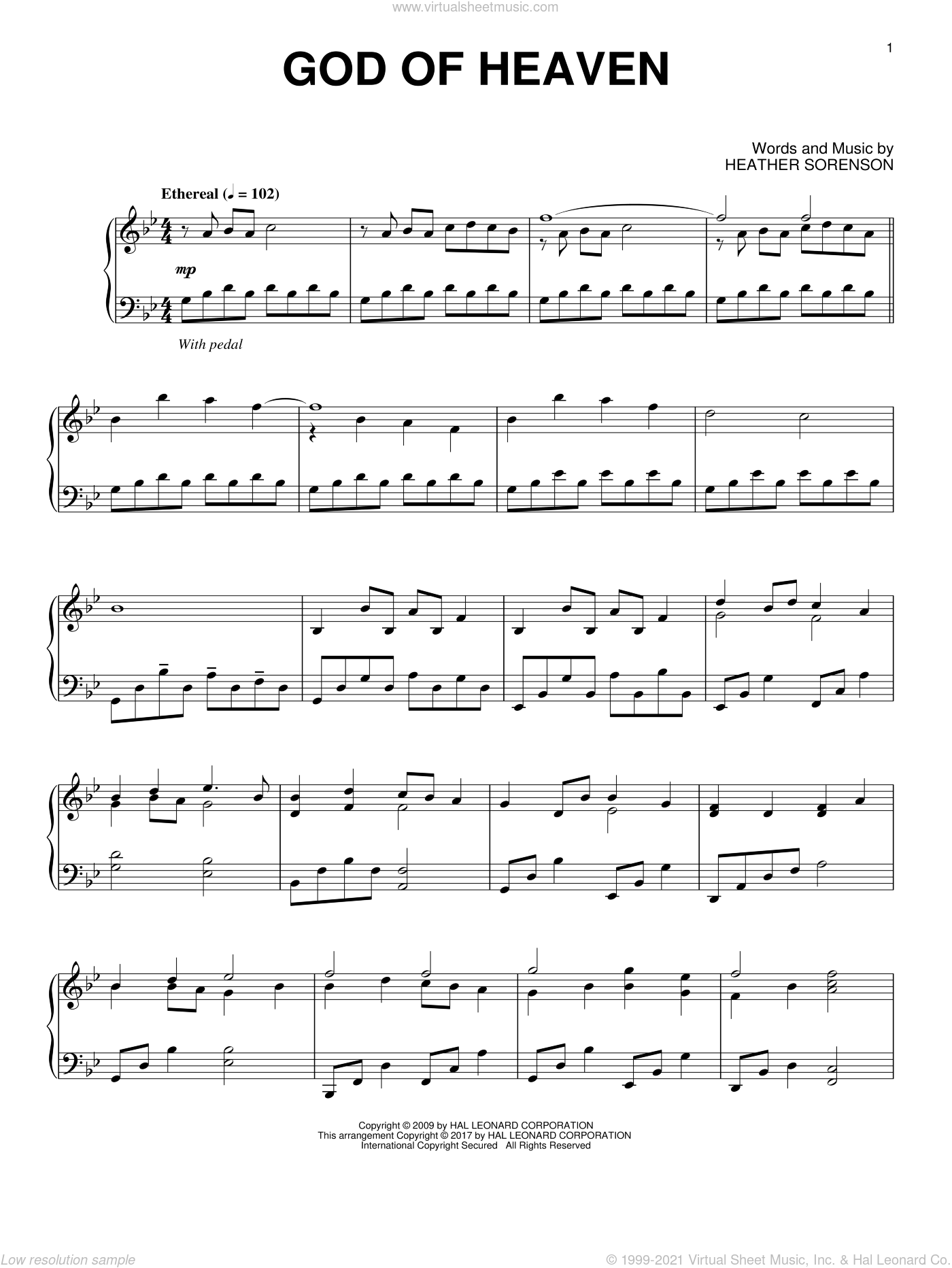 God Of Heaven sheet music for piano solo by Heather Sorenson, intermediate. Score Image Preview.