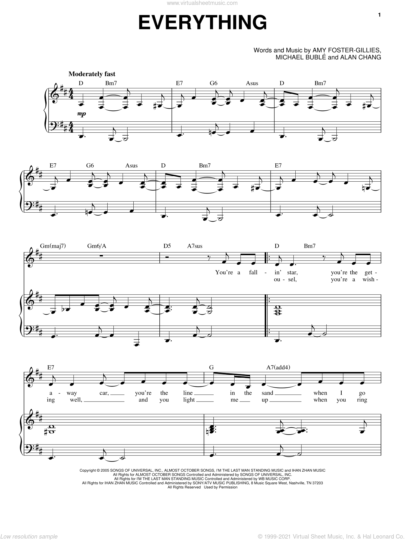 Everything sheet music for voice and piano by Amy Foster-Gillies, Alan Chang and Michael Buble. Score Image Preview.