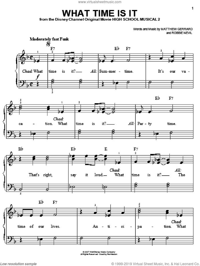 What Time Is It sheet music for piano solo by High School Musical 2, Matthew Gerrard and Robbie Nevil, easy skill level