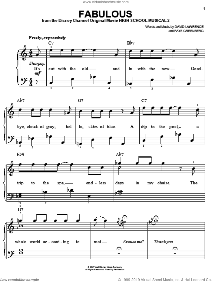 Fabulous sheet music for piano solo by High School Musical 2 and David Lawrence, easy. Score Image Preview.