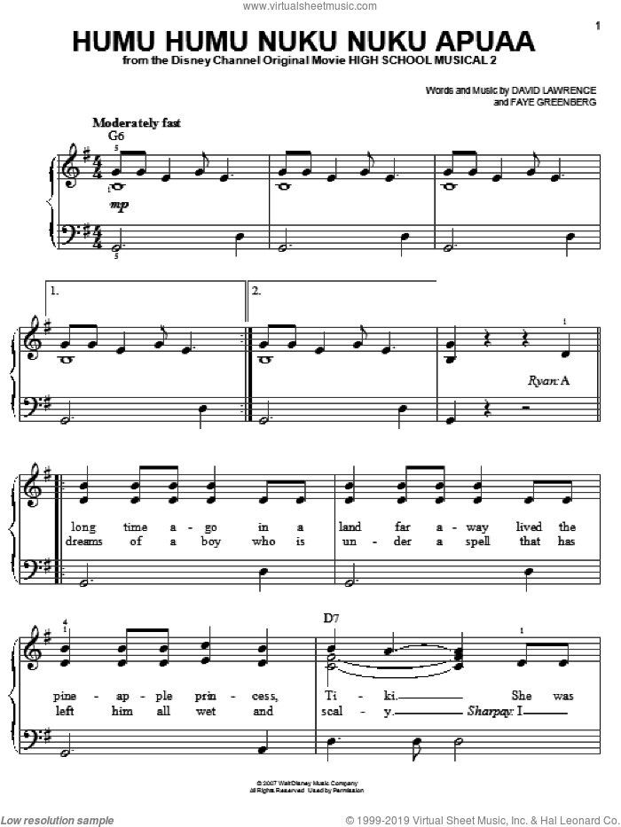 Humu Humu Nuku Nuku Apuaa sheet music for piano solo by High School Musical 2, David Lawrence and Faye Greenberg, easy skill level