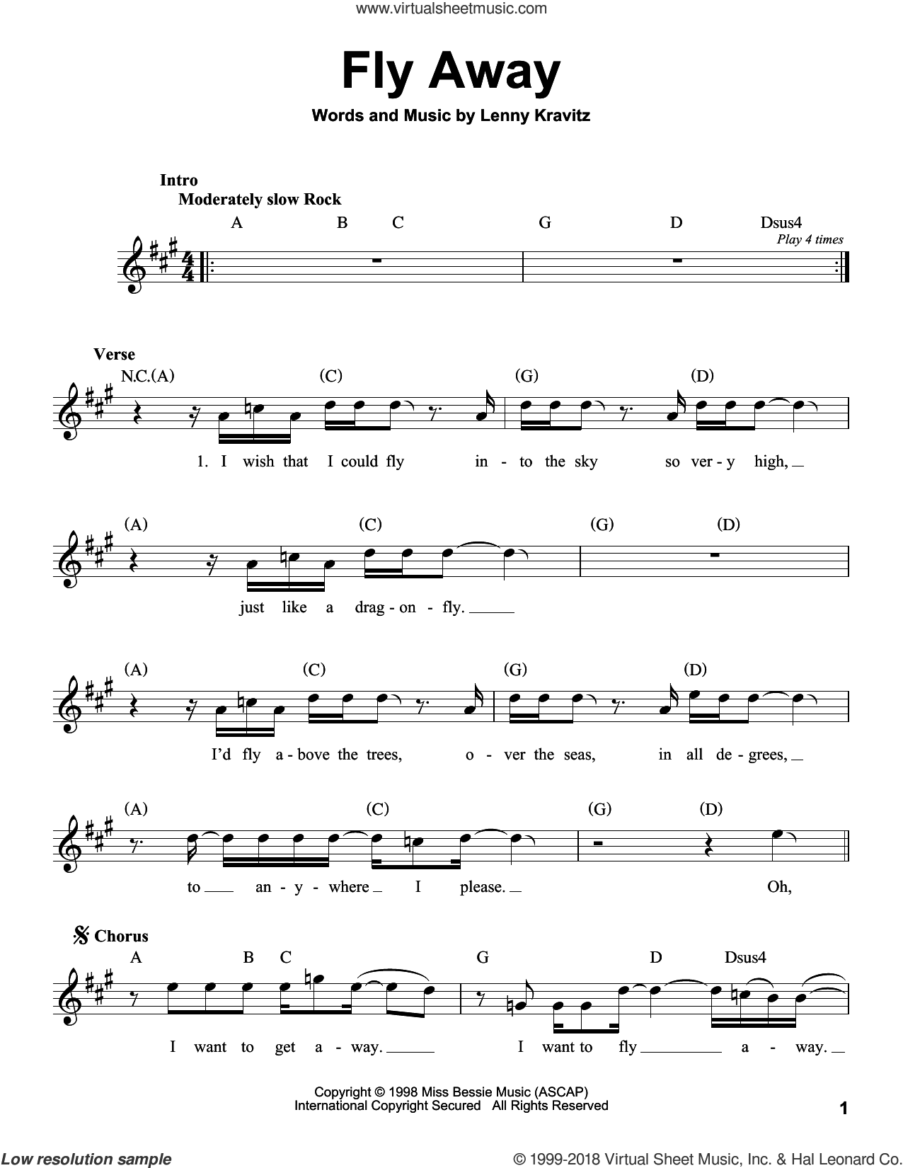 Fly Away sheet music for voice solo by Lenny Kravitz, intermediate skill level