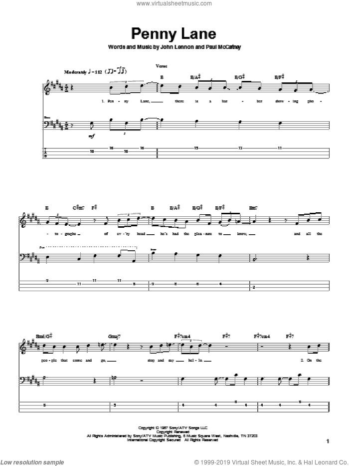 Penny Lane sheet music for bass (tablature) (bass guitar) by The Beatles, John Lennon and Paul McCartney, intermediate skill level