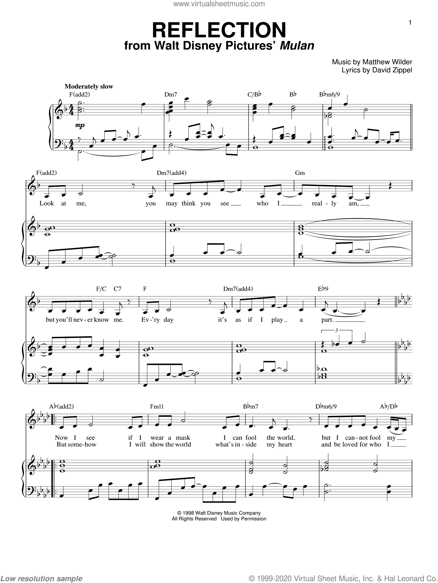 Reflection (from Mulan) sheet music for voice and piano by David Zippel, Mulan (Movie) and Matthew Wilder, intermediate skill level