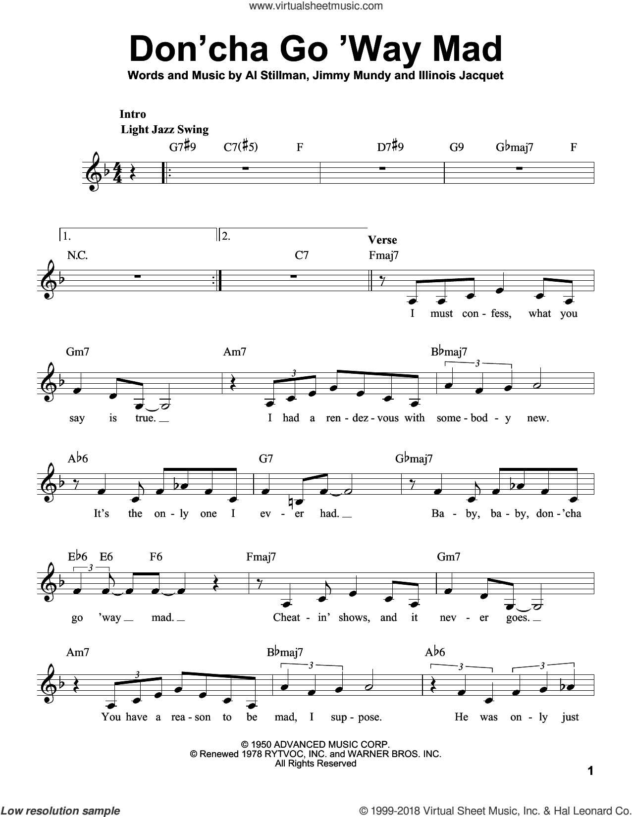 Don'cha Go 'Way Mad sheet music for voice solo by Ella Fitzgerald, Frank Sinatra, Rosemary Clooney, Al Stillman, Illinois Jacquet and Jimmy Mundy, intermediate skill level