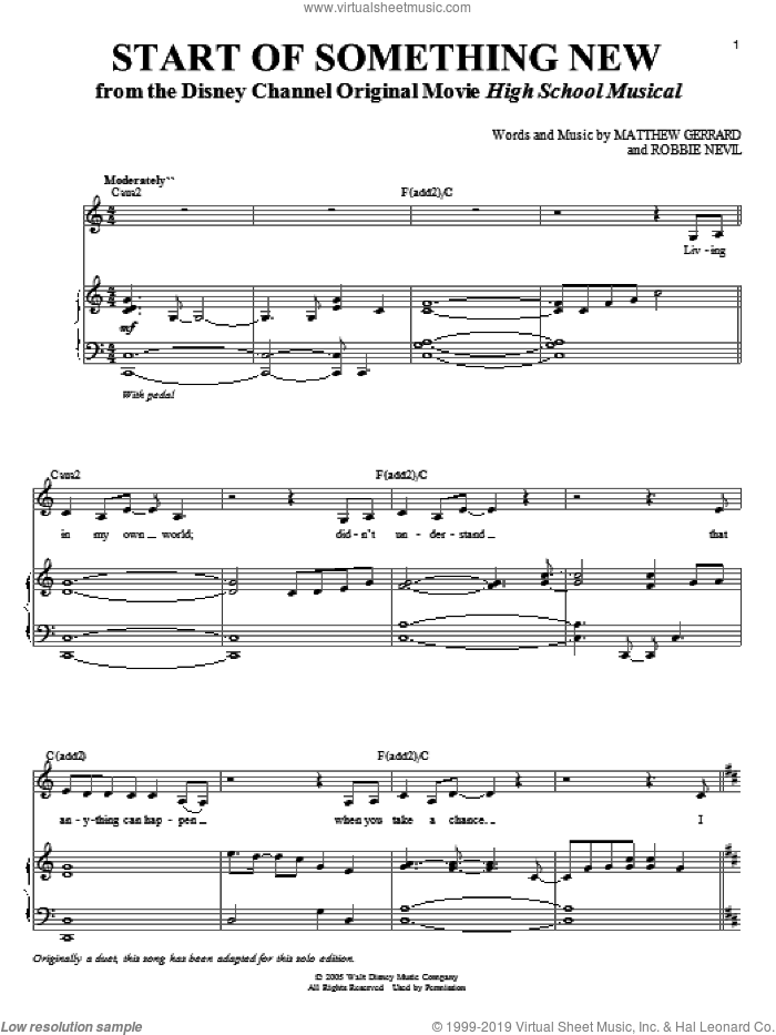 Start Of Something New sheet music for voice and piano by High School Musical, Matthew Gerrard and Robbie Nevil, intermediate skill level