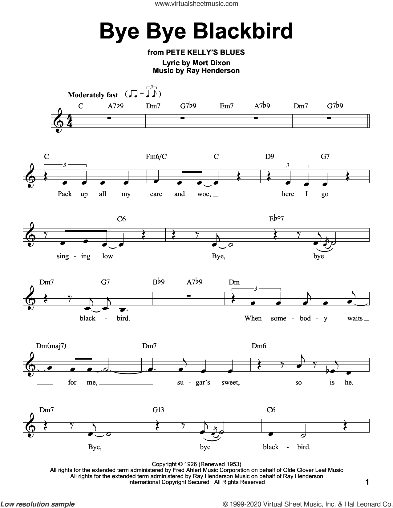 Bye Bye Blackbird sheet music for voice solo by Mort Dixon and Ray Henderson, intermediate skill level