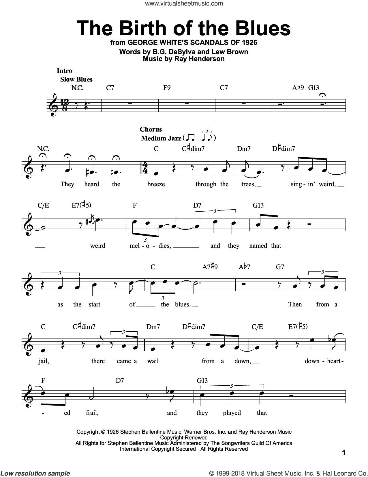 The Birth Of The Blues sheet music for voice solo by Buddy DeSylva, Lew Brown and Ray Henderson, intermediate skill level