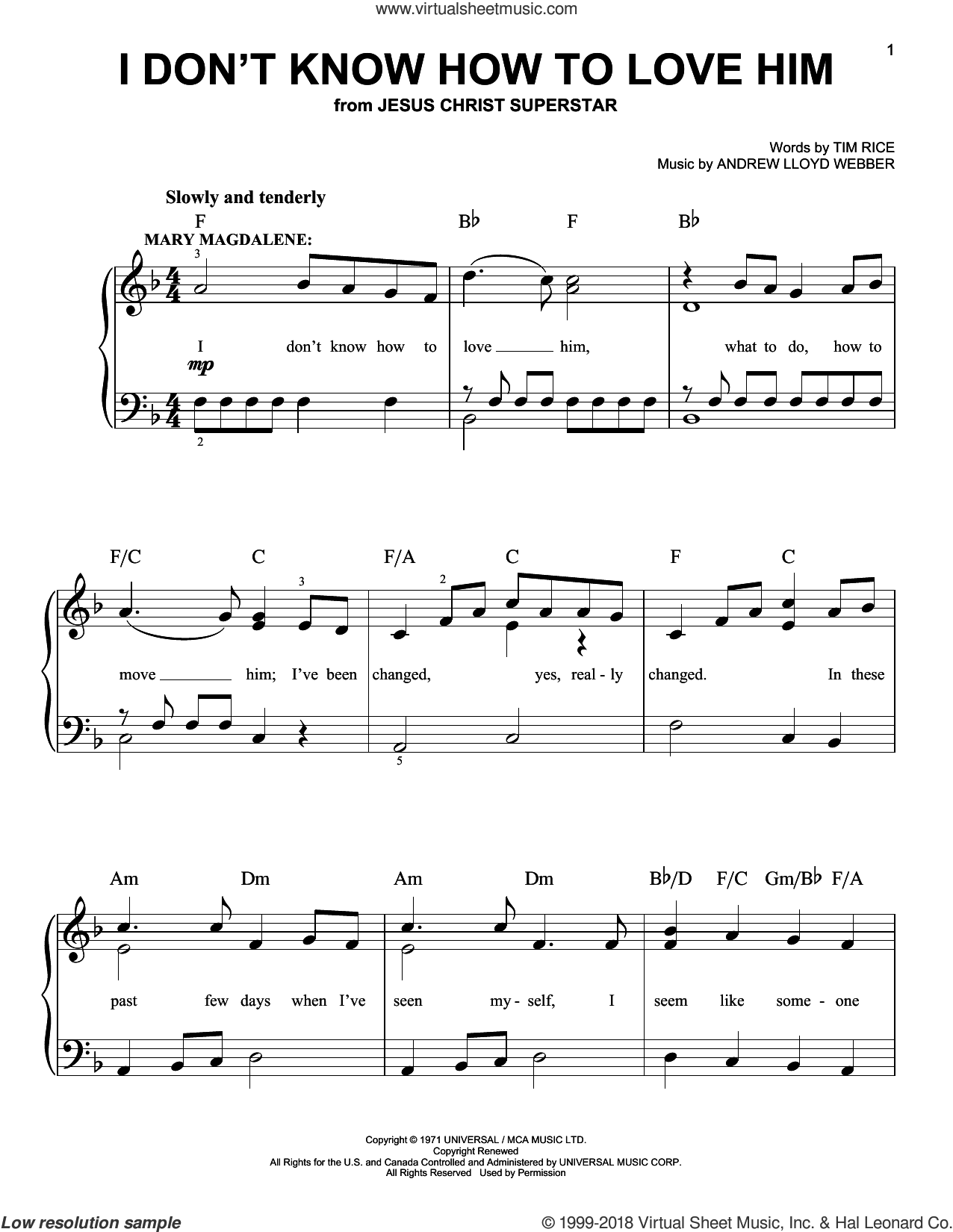 I Don't Know How To Love Him sheet music for piano solo (chords) by Tim Rice