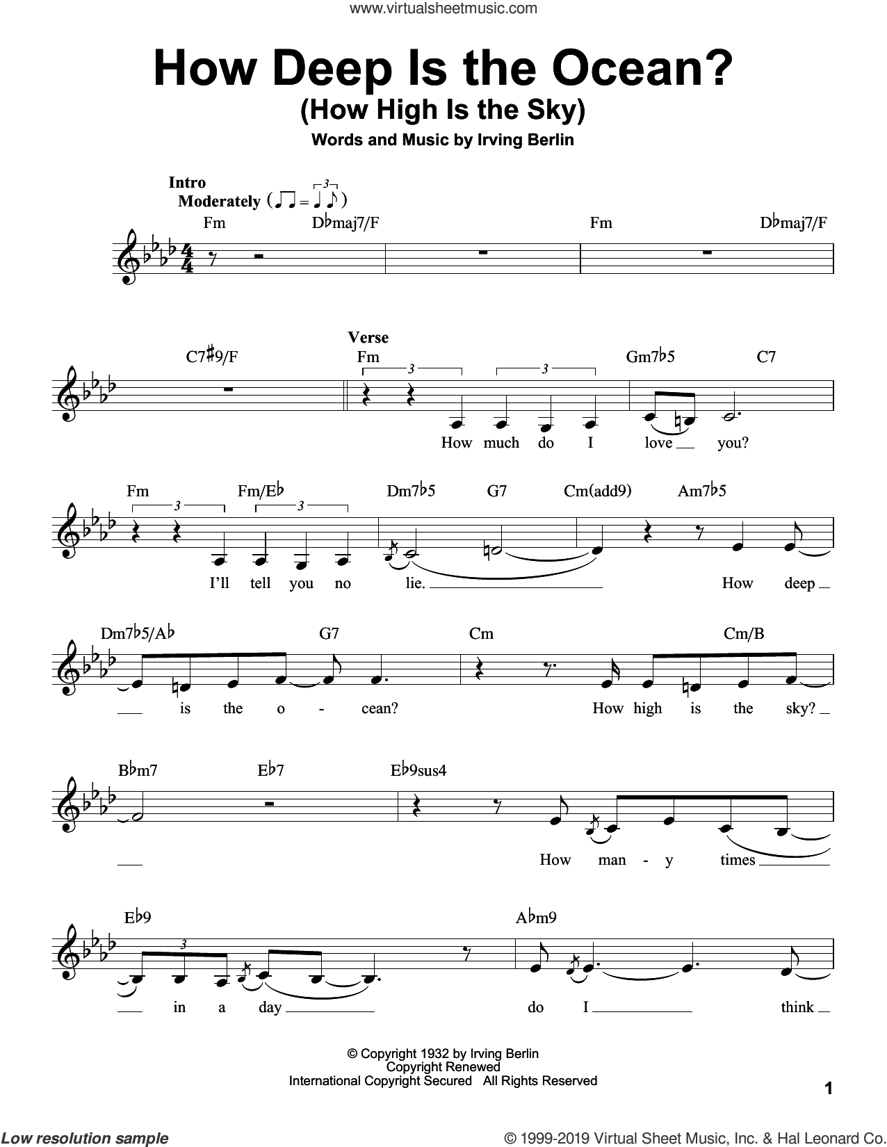 How Deep Is The Ocean (How High Is The Sky) sheet music for voice solo by Irving Berlin and Ben Webster, intermediate skill level