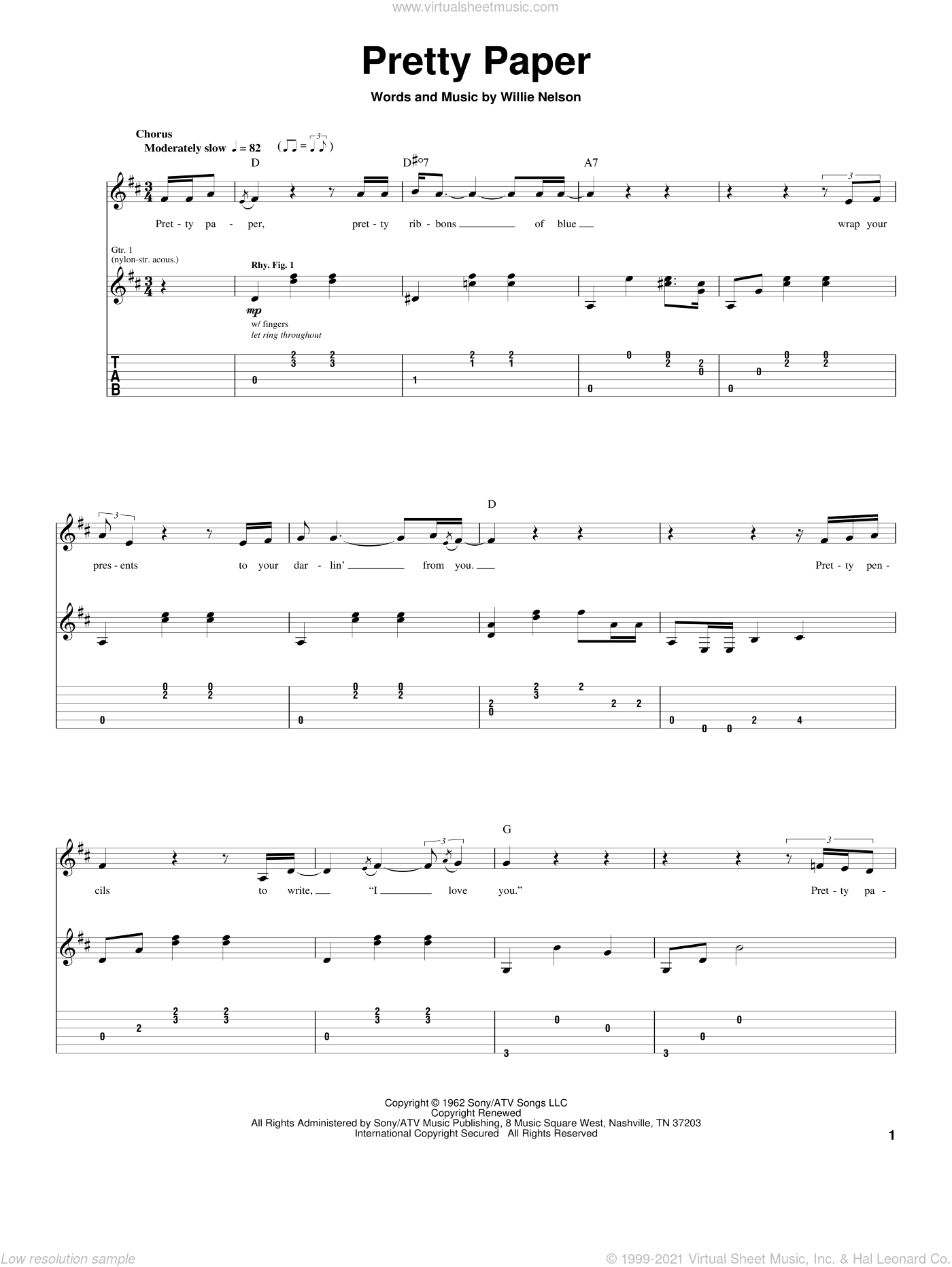 Pretty Paper sheet music for guitar (tablature) by Willie Nelson and Roy Orbison, Christmas carol score, intermediate guitar (tablature). Score Image Preview.
