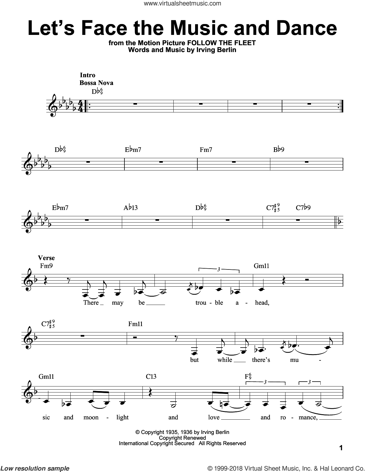 Let's Face The Music And Dance sheet music for voice solo by Irving Berlin and Dick Hyman, intermediate skill level